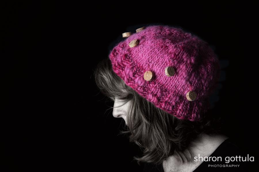 Christine Derks models her Wine Lover's Hat