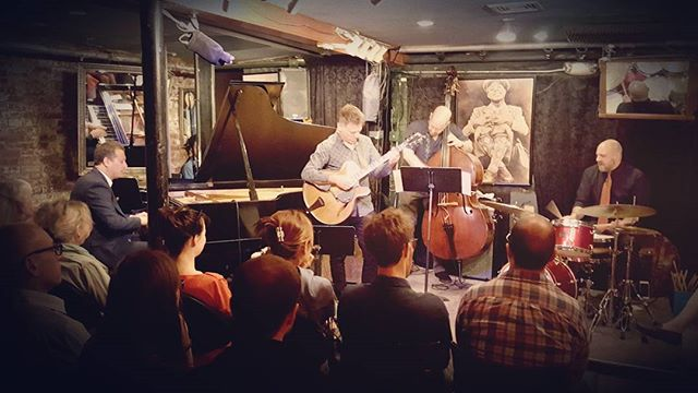 """I run a jazz record label called """"Rondette Jazz"""". Last week one of my best friends and label artist Jeremy Manasia celebrated the release of his new album, Metamorphosis, featuring guitar legend Peter Bernstein. Here they are at Smalls. It was beautiful.  #smallsjazzclub #nycjazz"""