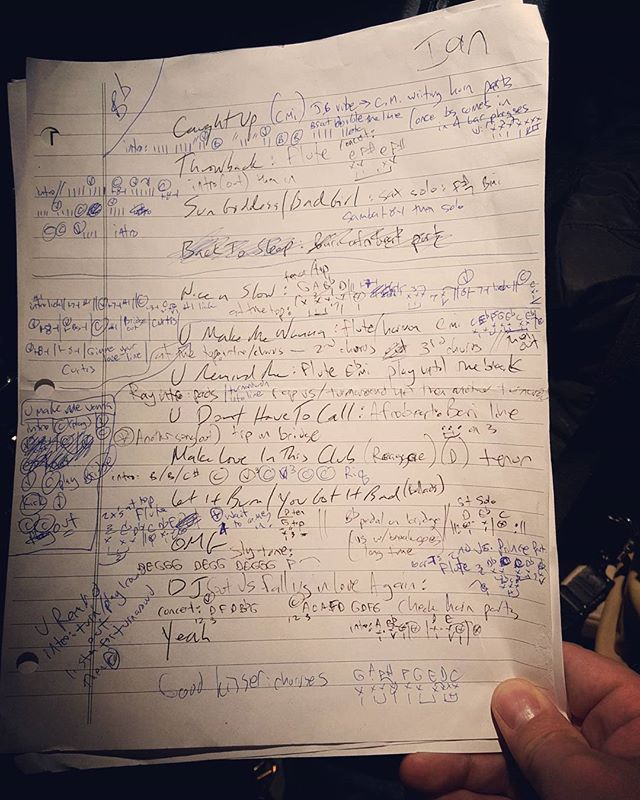 """The scribblings of a madman! Haha--my """"cheat sheet"""" for the Roots/Usher shows a couple weeks ago. #theroots #usher"""