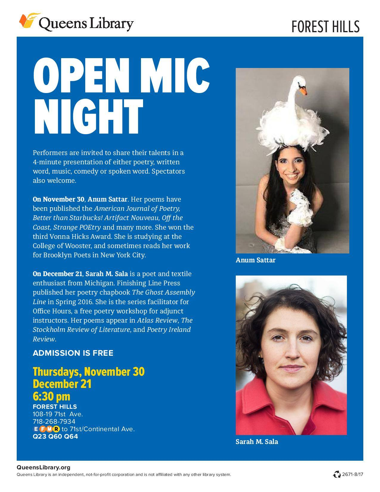 Queens Library Open Mic Night