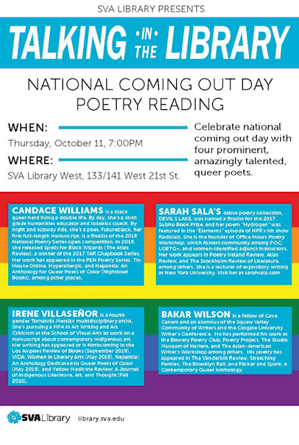 SVA Library Presents: National Coming Out Day Poetry Reading
