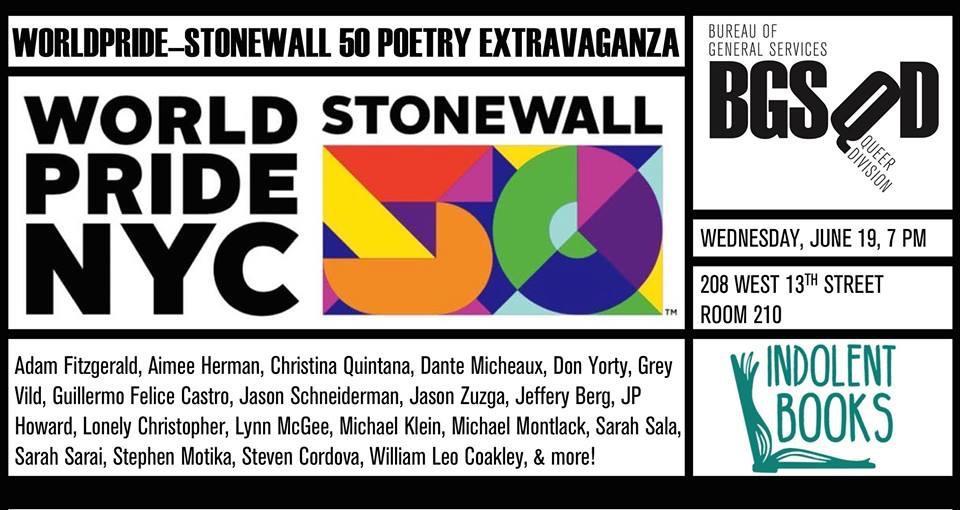 World Pride Stonewall 50 Poetry Extravaganza