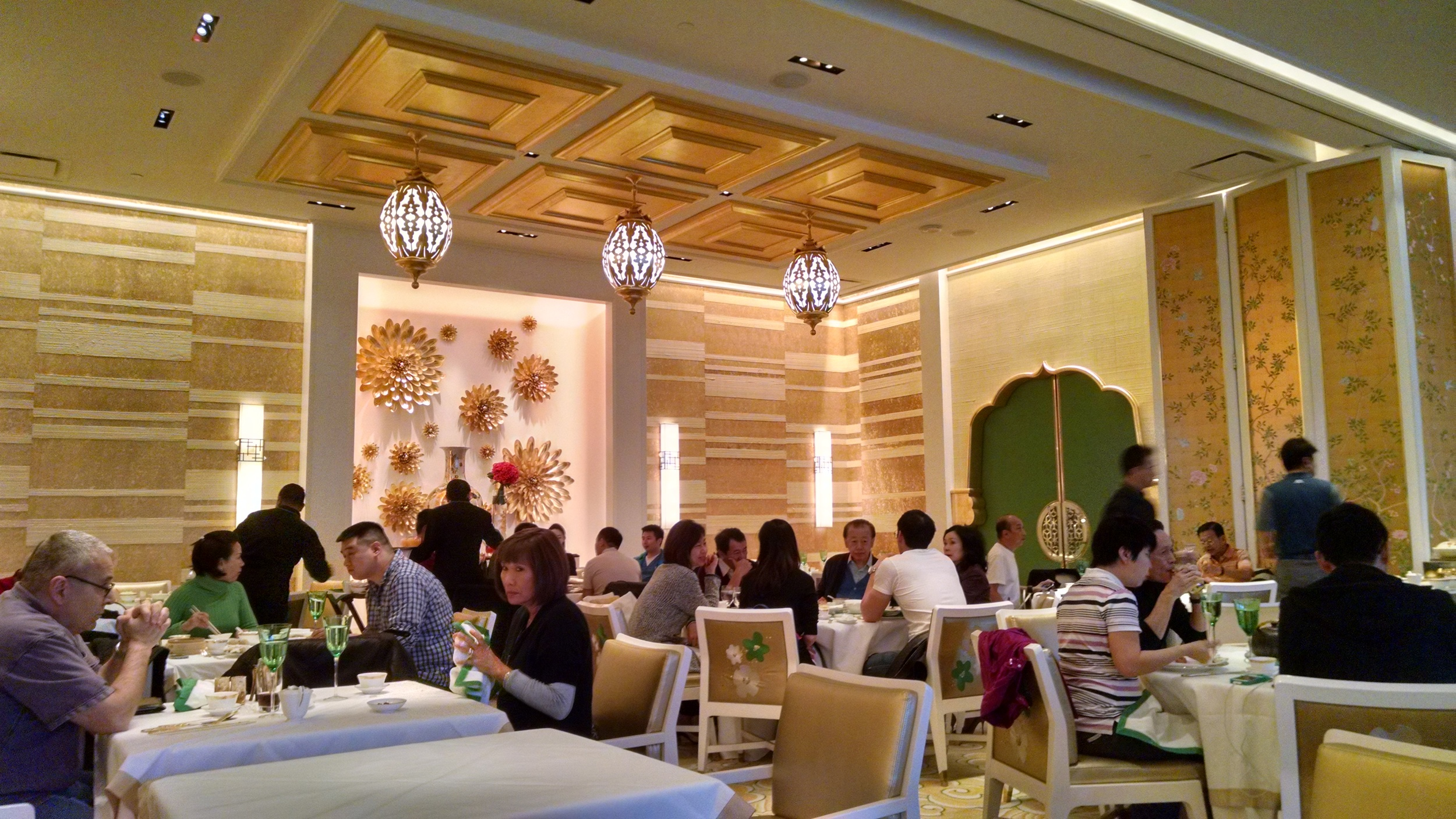 Wing Lei restaurant is beautiful and overflowing with the colors of gold and jade.