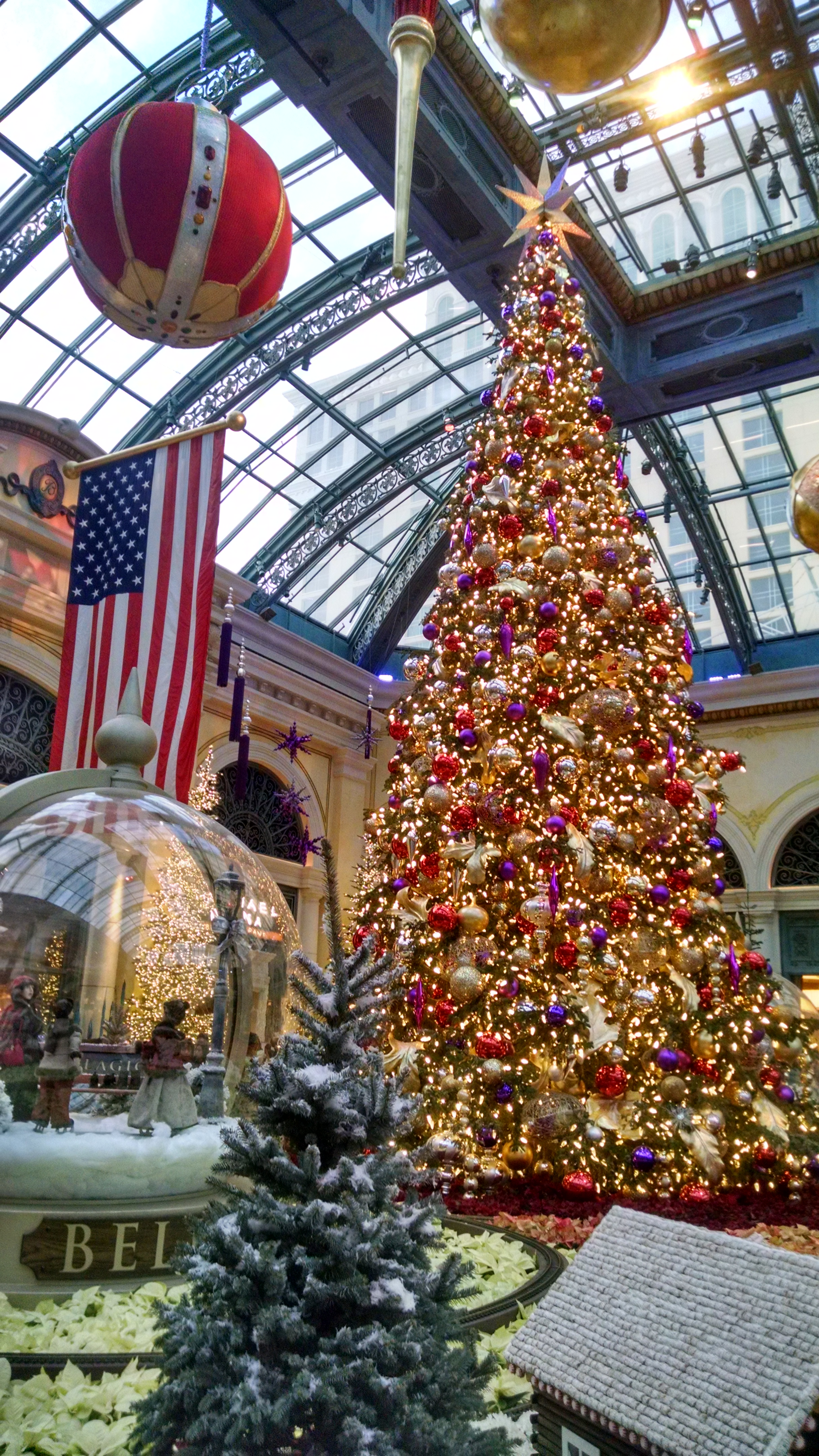 This gigantic Christmas tree and accompanying holiday-themed display is located in the Palazzo.