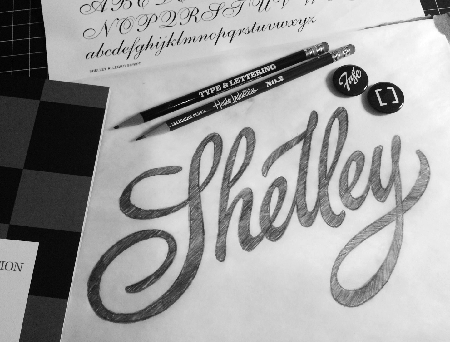 I attempted to pay close attention to subtle stroke transitions within the Shelley Allegro typeface.