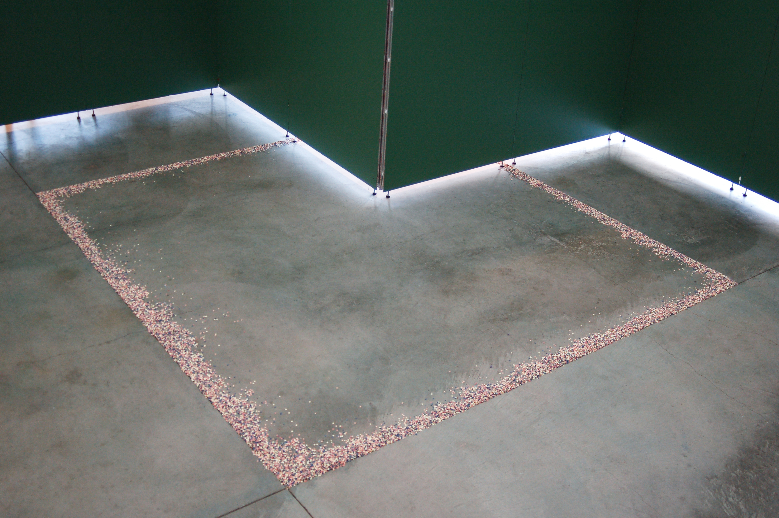 untitled.  Custom Fabricated Porcelain Tape-Cast with Mason Stains, Concrete Floor Scoring, removable wall dividers. Saginaw Art Museum, 2015