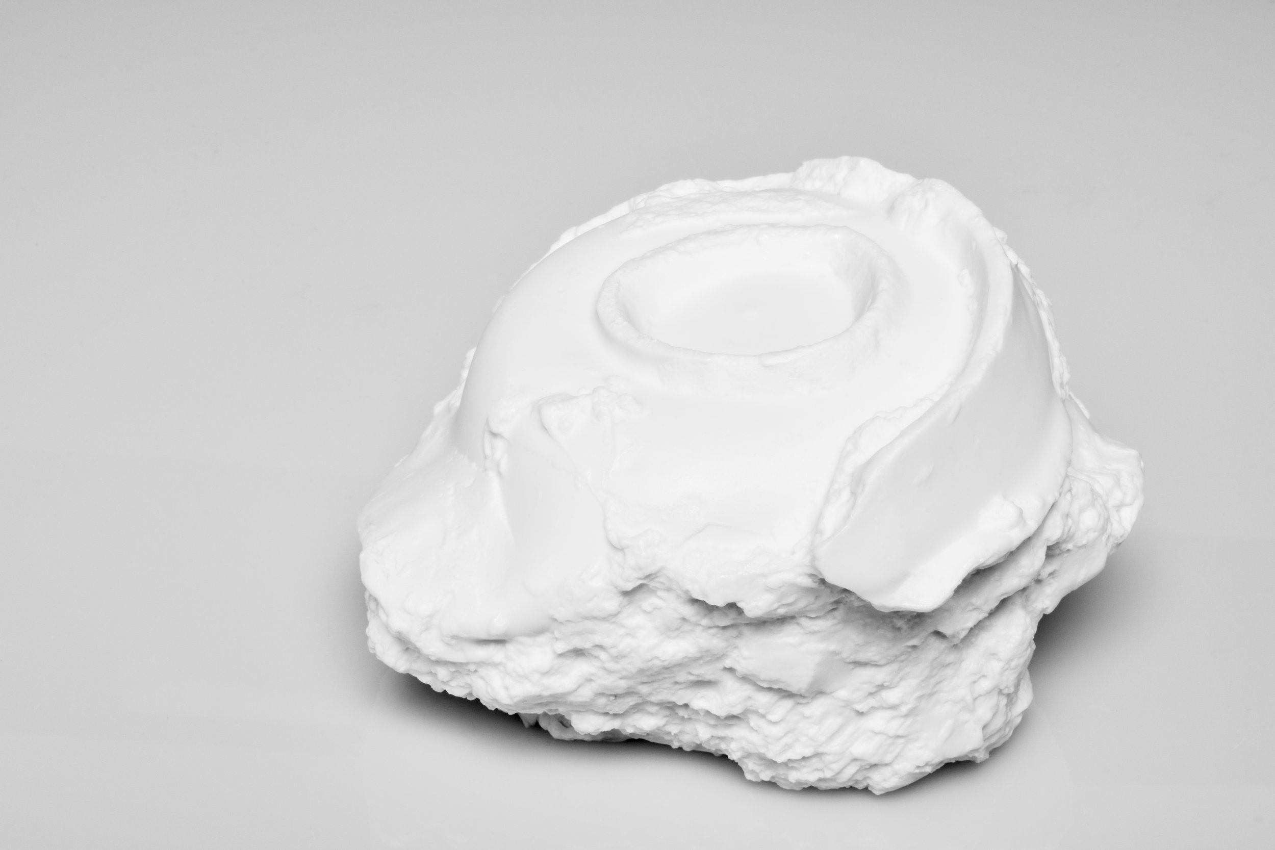 Saggar | Form Series , Jindezhen Porcelain with Glaze. 2017 - on going  Ming Dynasty collapsed saggar and porcelain forms were collected from various sites around Jingdezhen, China, and moved through the mold making process; cast as thin porcelain versions of their former selves. Shifting form to surface, these objects touch lightly towards ideas related to dislocation, longing, and the inescapable potential of the cast off. Collapsing time and place, their glazed interiors seek to reanimate the objects as functional vessels of the present.