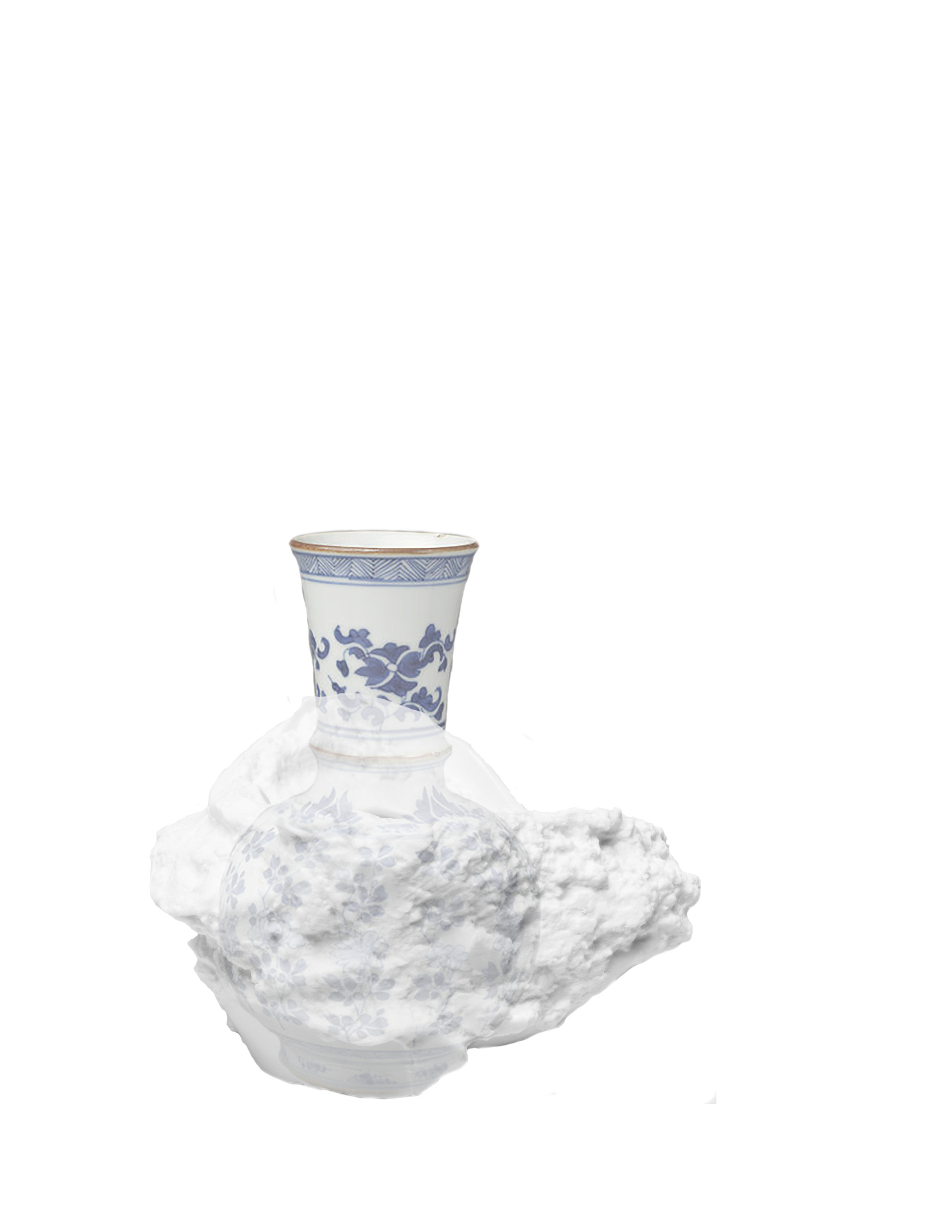 Saggar | Form Series , Digital Print, Ming Dynasty Form overlaid in cast form. 2019  Ming Dynasty collapsed saggar and porcelain forms were collected from various sites around Jingdezhen, China, and moved through the mold making process; cast as thin porcelain versions of their former selves. Shifting form to surface, these objects touch lightly towards ideas related to dislocation, longing, and the inescapable potential of the cast off. Collapsing time and place, their glazed interiors seek to reanimate the objects as functional vessels of the present.