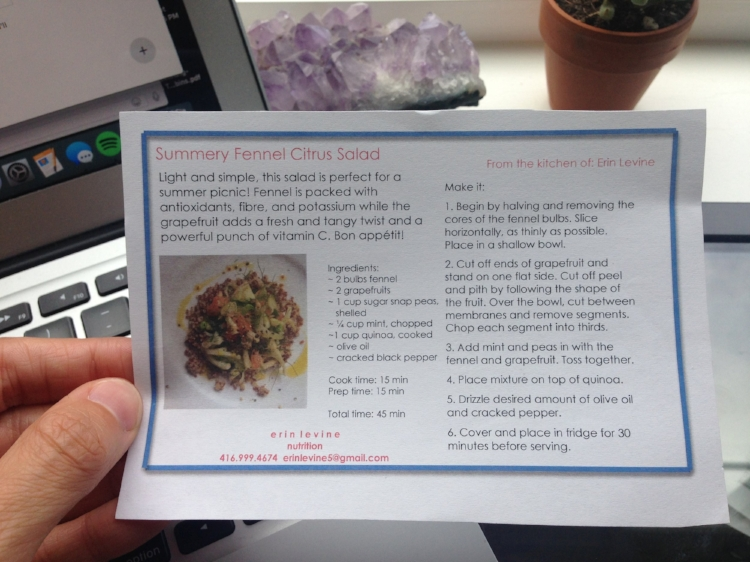 """My """"recipe card"""" from class! I love that I kept this. Memories!"""