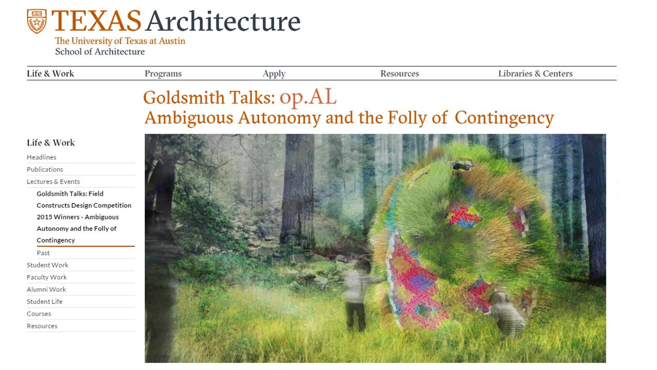 "Jonathan and Jennifer presented a Goldsmith Talk on the ""Ambiguous Autonomy, and the Folly of Contingency."" Focusing on the history of the Folly within architecture and landscape."
