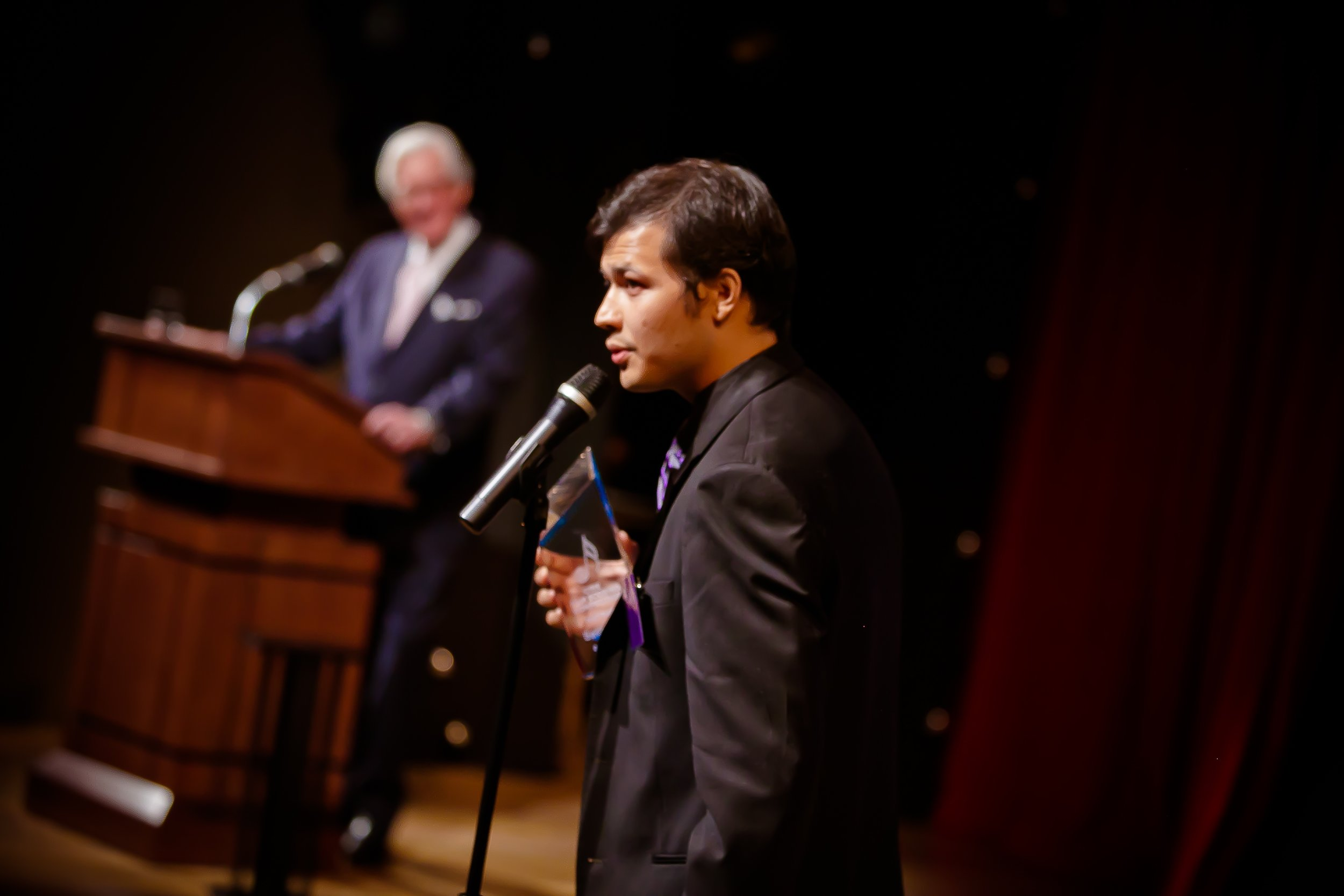 Seth Tsui receiving the first place award in the 2013 Marvin Hamlisch competition (CINE Film Scoring Competition). Every year, hundreds of composers from around the world compete by composing unique scores to the same film. The winner is determined on the strength of the music alone, by a panel of judges including Mychael Dynna (Life of Pi), George S Clinton (chair of film scoring at Berklee) and Dan Carlin (chair of film scoring at USC). The competition has less than 10 winners in its history. Since 2014 Seth has been on its panel of judges.