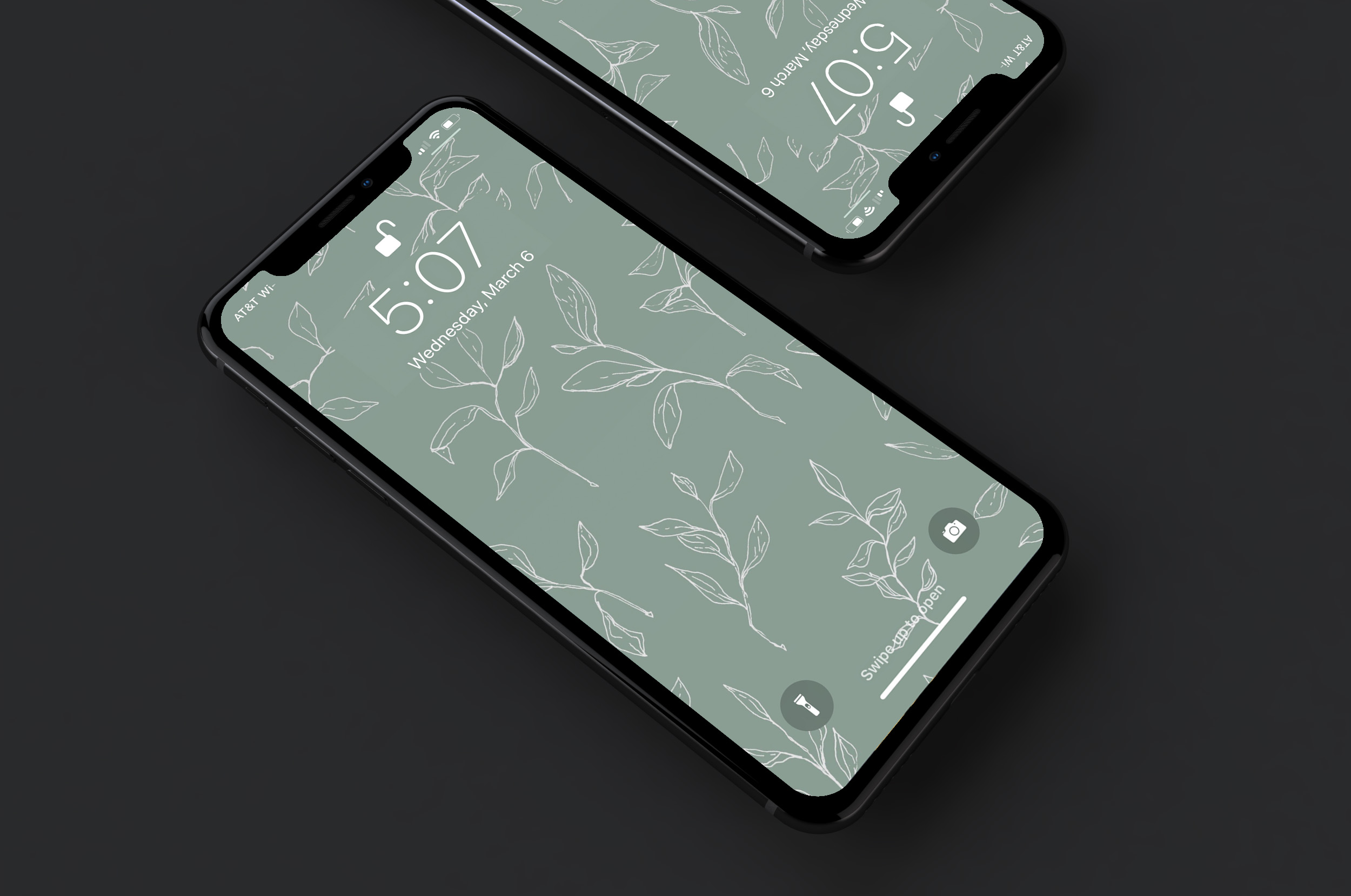 Spring Wallpaper - Hand drawn spring leaves wallpaper with notch for iPhone X + similar devices