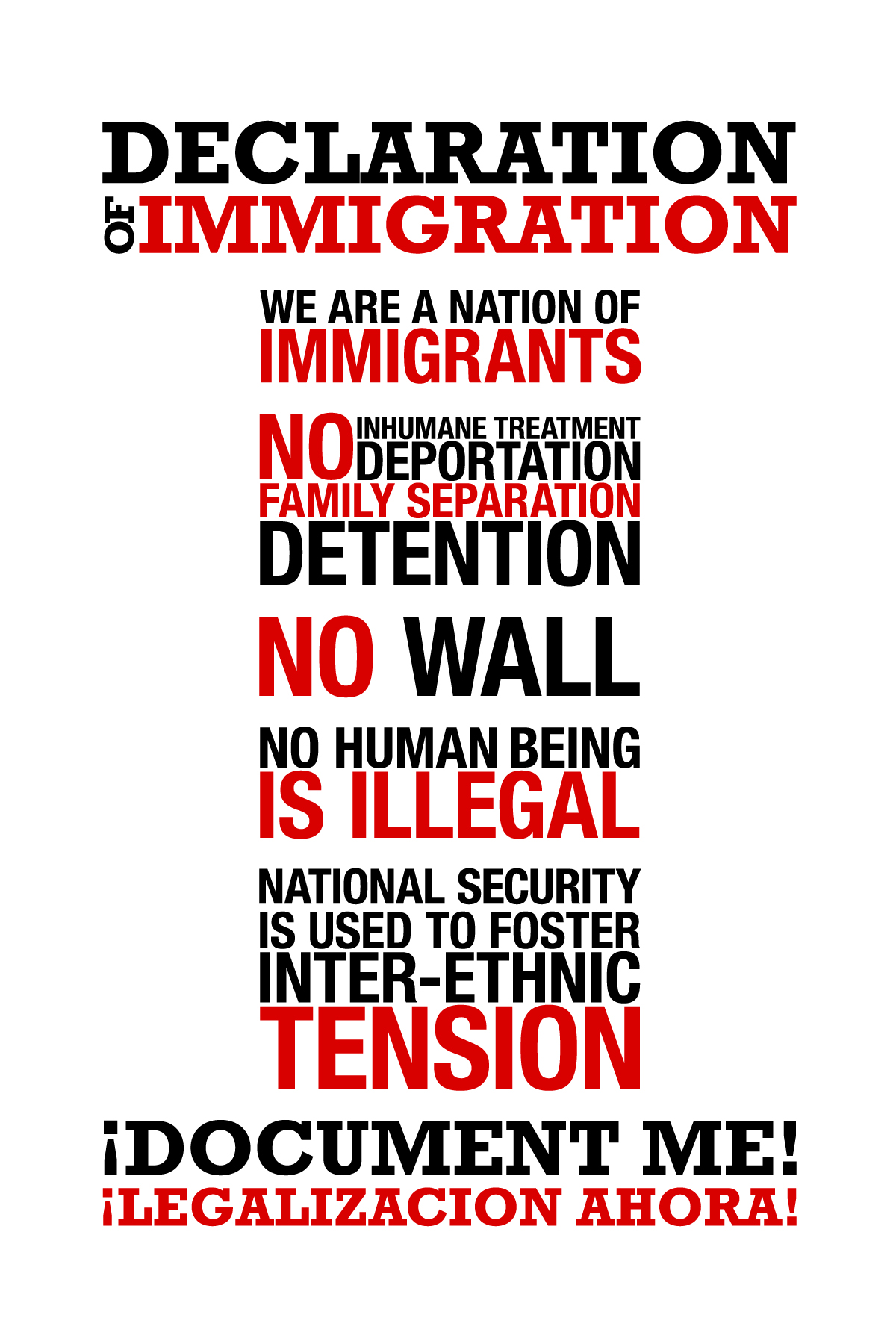 The Declaration of Immigration Sticker