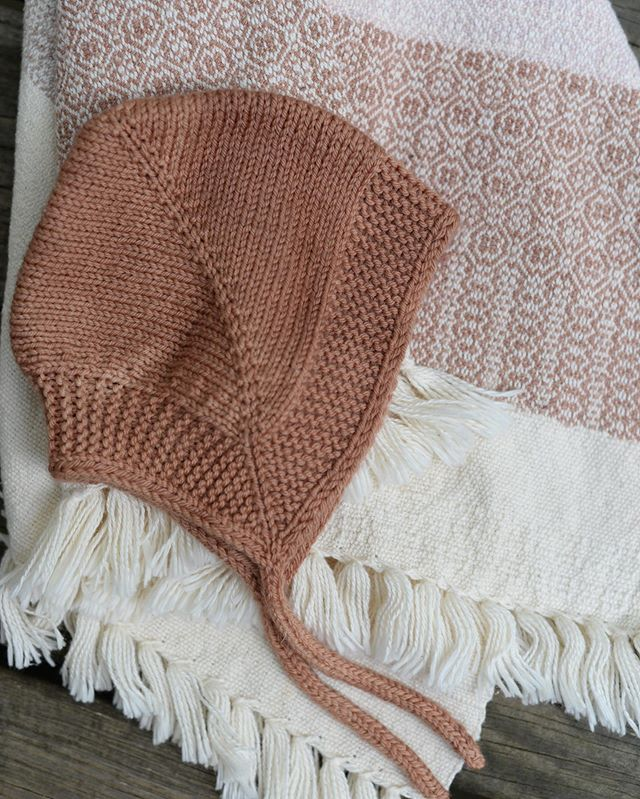 Matching handknit bonnet and handwoven baby blanket  that will be in the shop update launching later this week! Keep your eyes peeled.