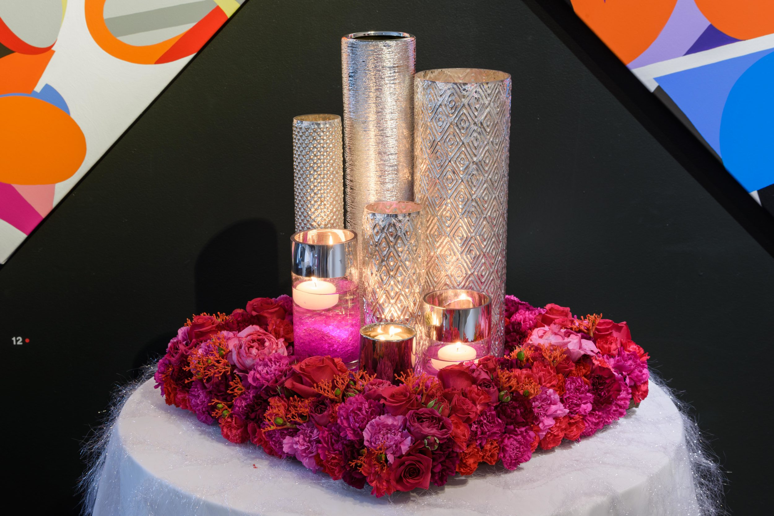 Entry focal point table with floral and candles