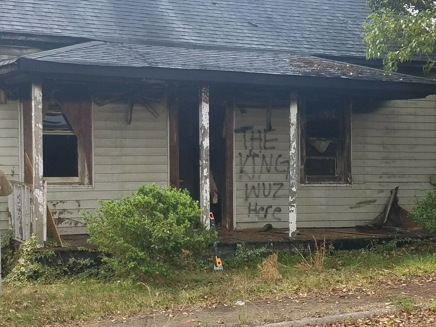 I've covered countless house fires during my time as a reporter, but this was was unique because of the graffiti on the front of the building. It was later ruled an arson.