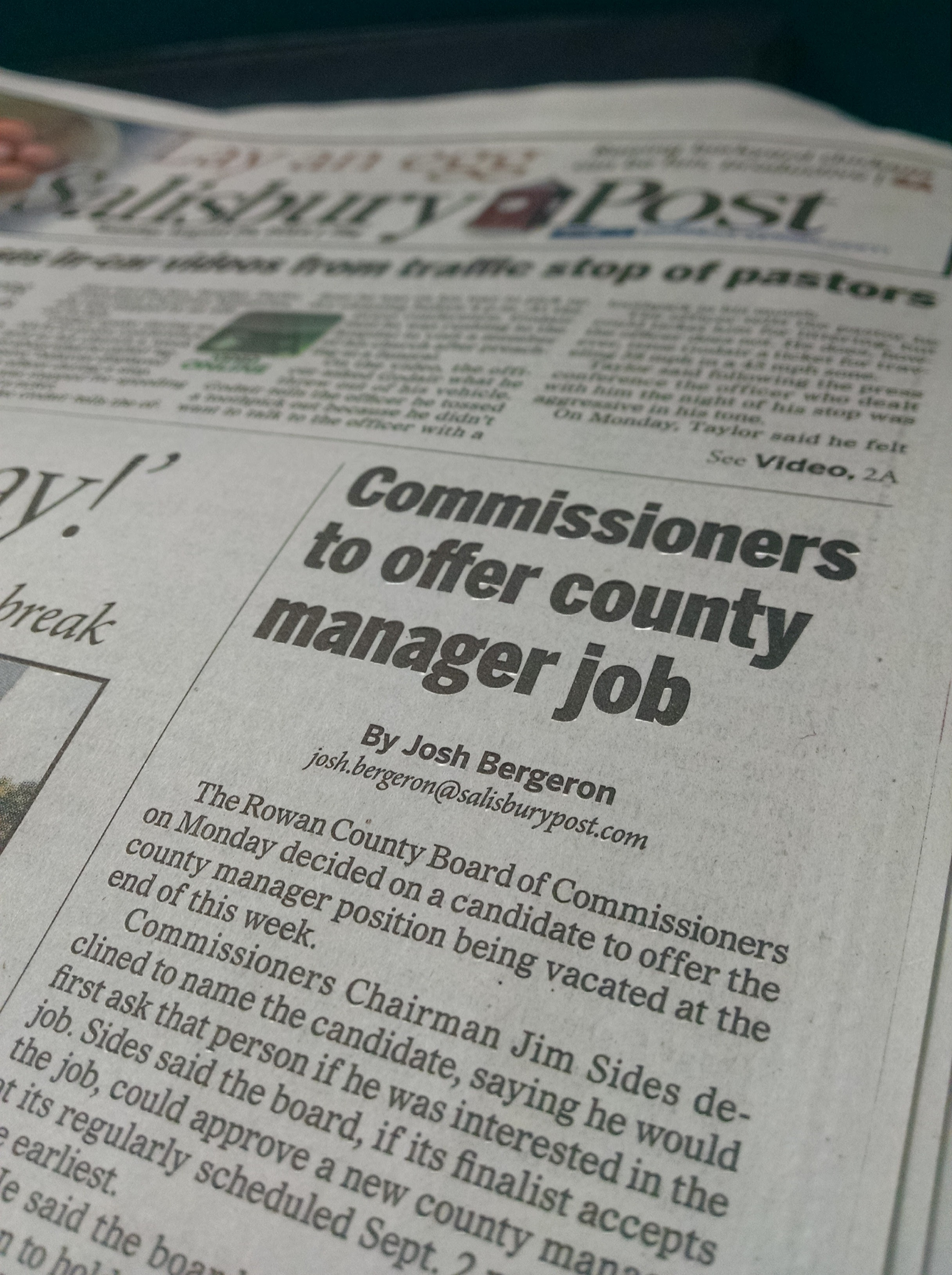 My first byline at the Salisbury Post