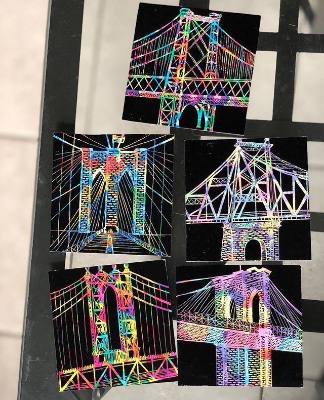 Build bridges, not walls.💙 #art #bridges #brooklynbridge #manhattanbridge #williamsburgbridge #queensborobridge #nyc #scratchart #scratchpaper #love #peace #drawing #color #rainbow