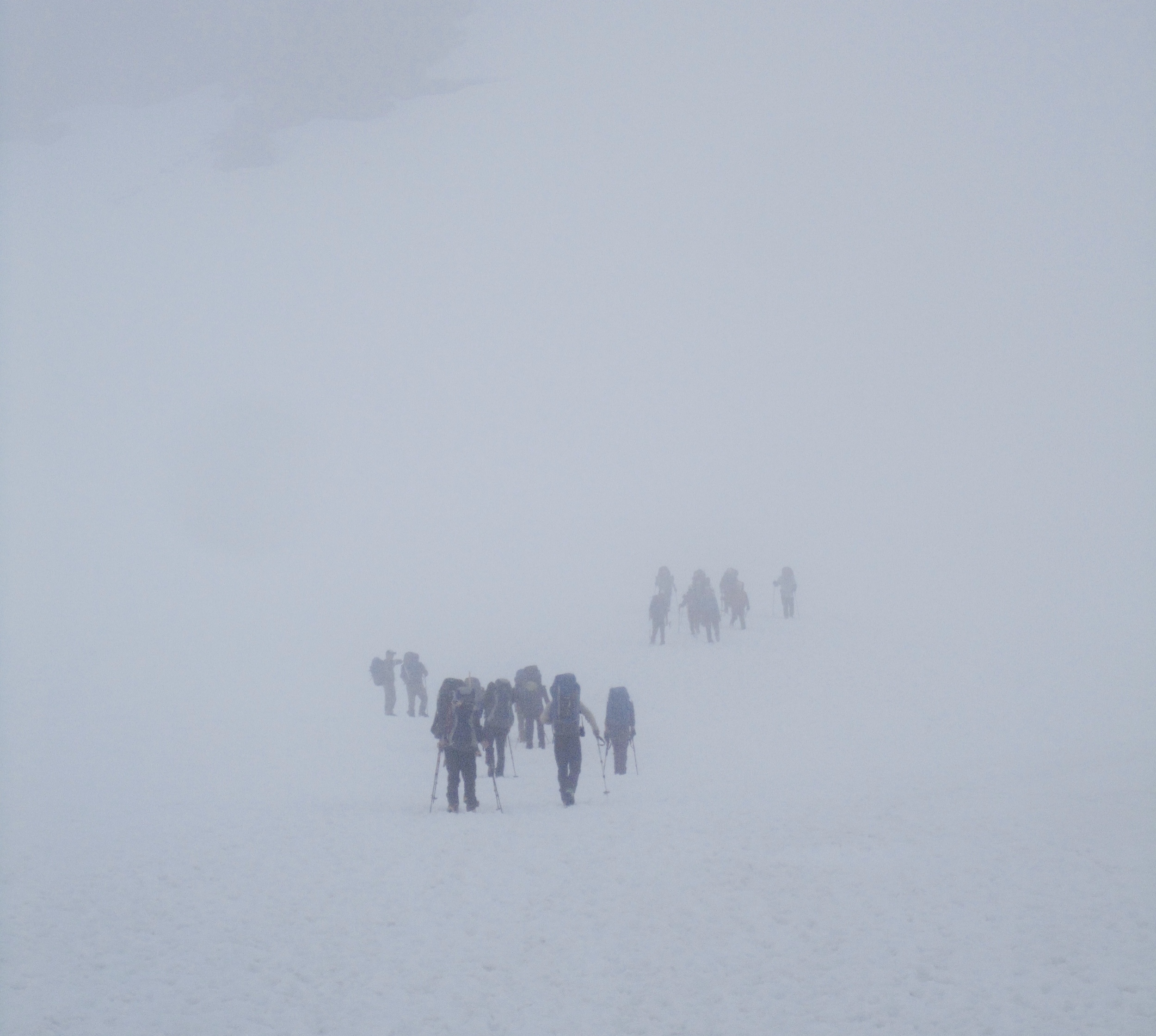 Groups of hikers/climbers taking on Mt Rainier