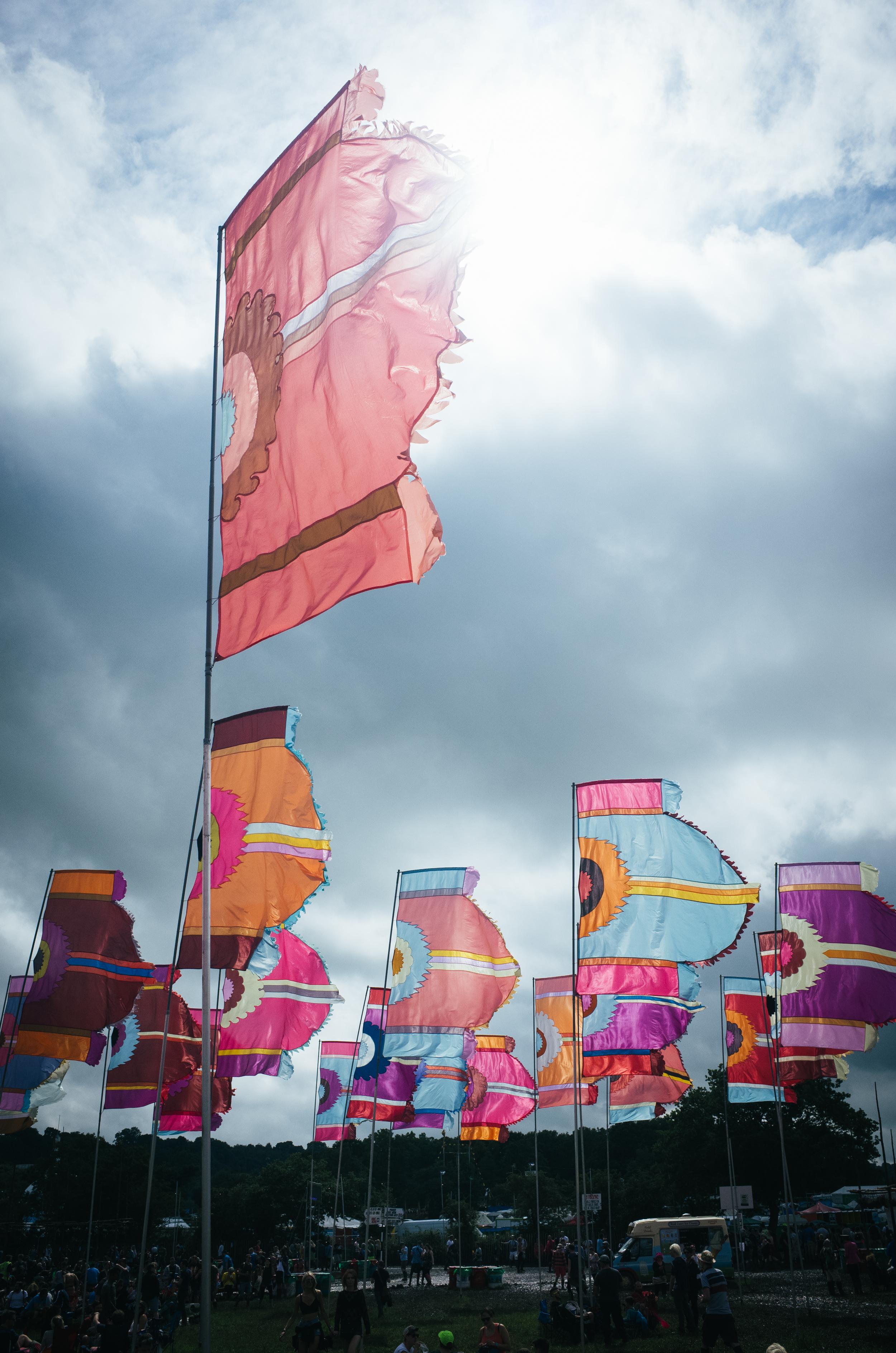 Famous Glastonbury flags - Clifford darbh 2016