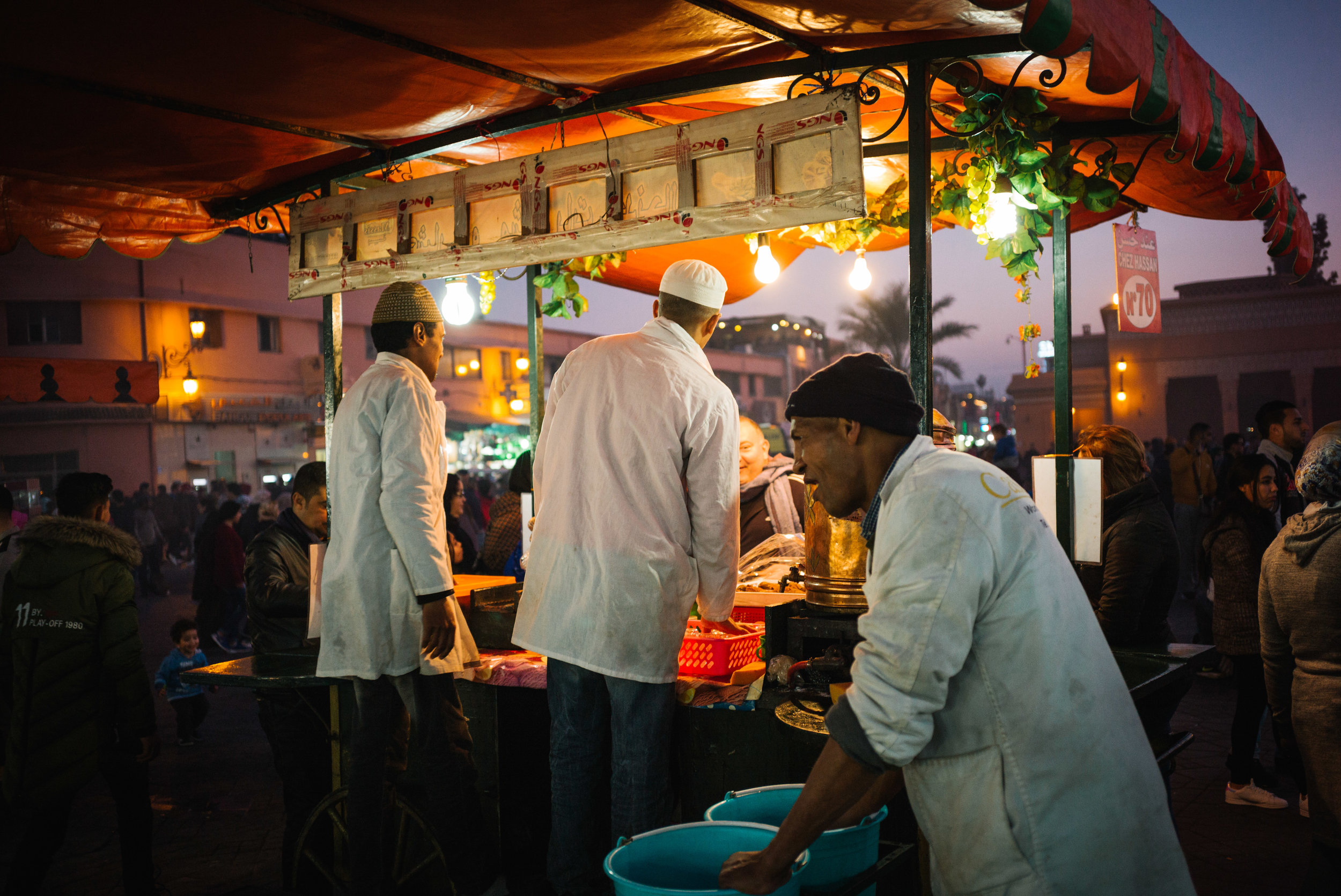 One of many busy stalls in the Jemaa el-Fnaa - Clifford Darby 2018