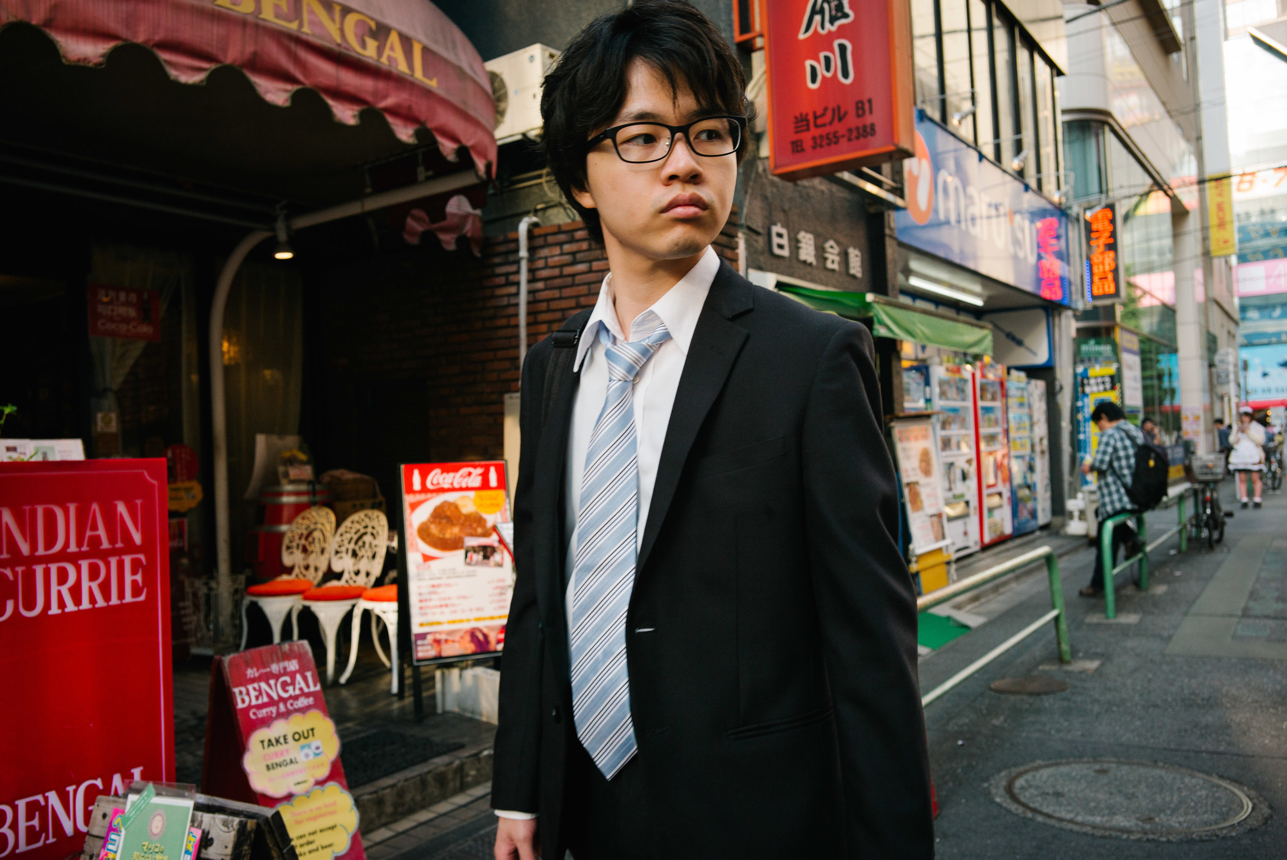 Japan's 'salarymen' are expected to work long hours, they are taught to work for the good of the whole society rather than just the individual and to value work above all else. Tokyo. Japan. 2017.