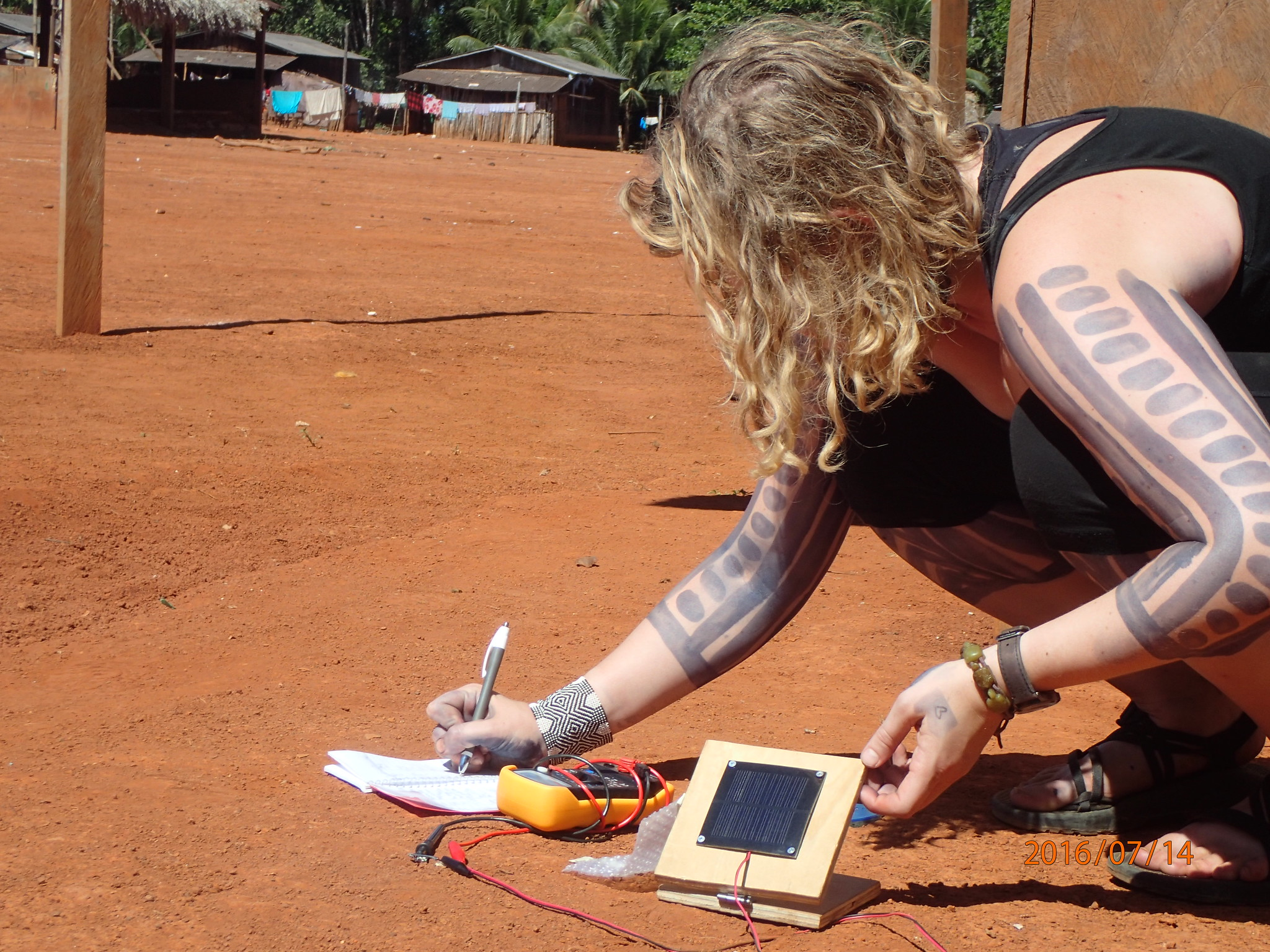 EEE and ANTH undergraduate student Kaitlin Harris taking solar measurements to design sustainable power solutions for Kokojagoti, a Kayapó media collective.