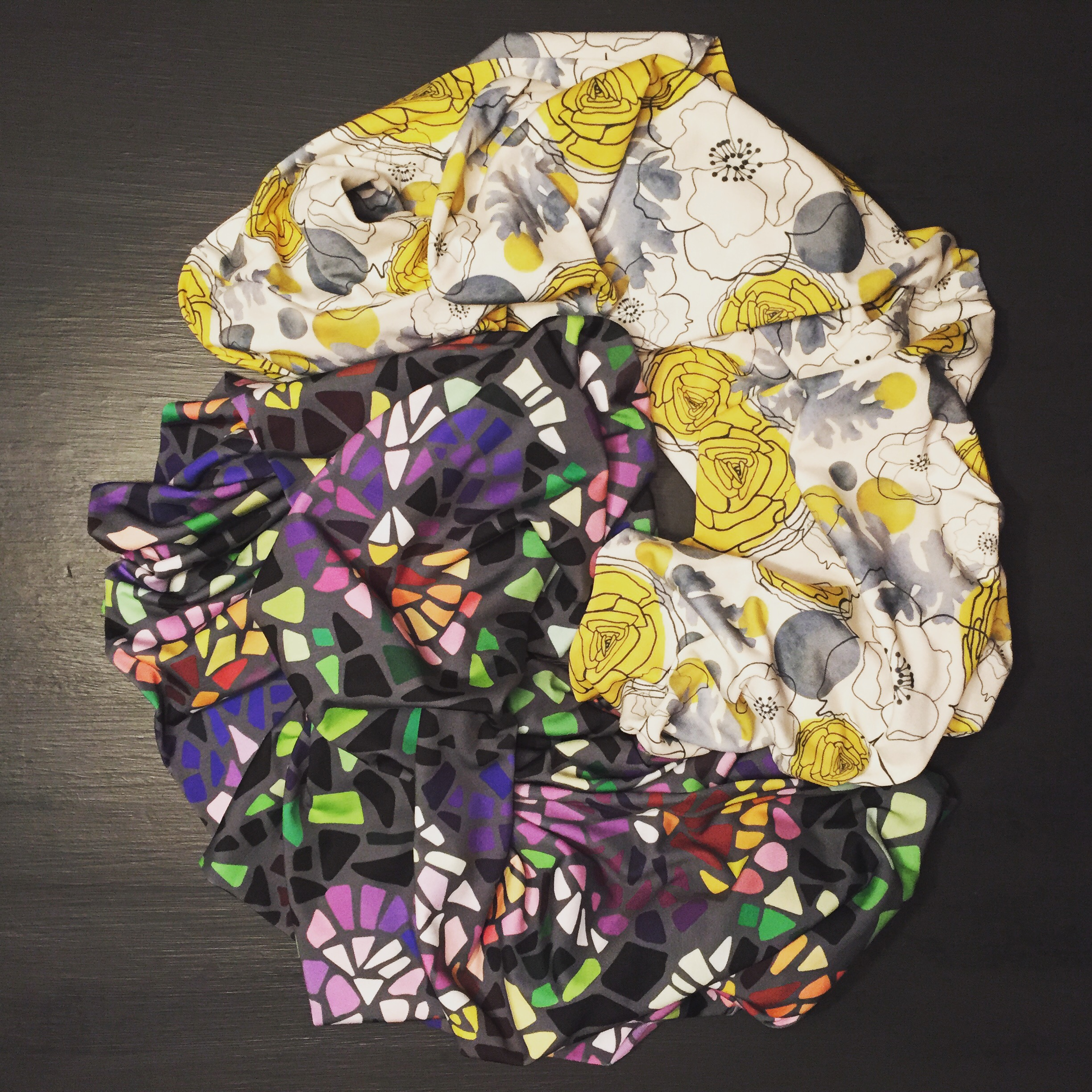 I sewed two custom infinity scarves featuring my  mosaic pansy  and  white anemone  prints  Find the fabric here:   https://www.spoonflower.com/profiles/jackiejean