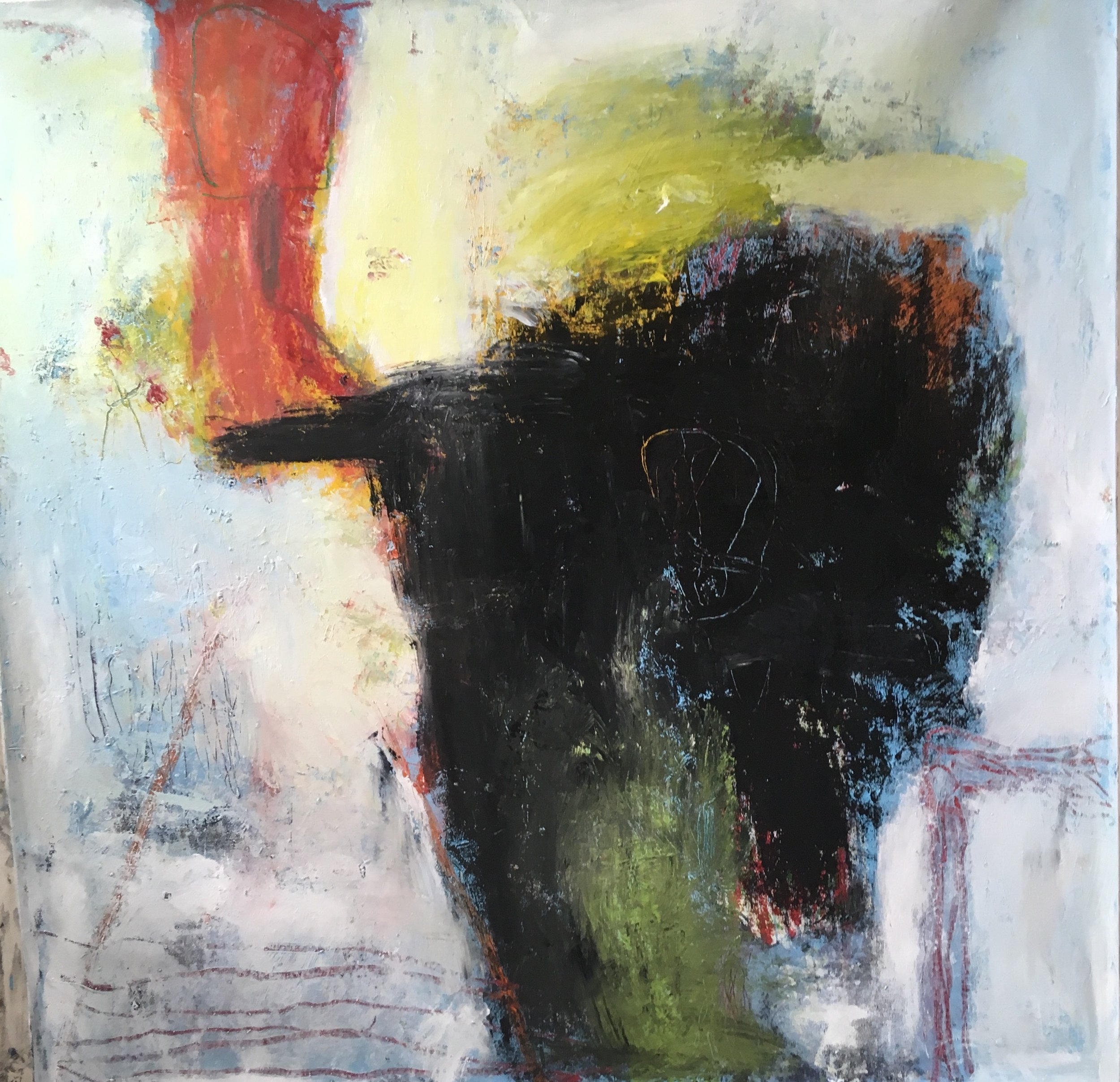 SOLD Figure with Oil Slick 60x60 in oil on canvas 2018