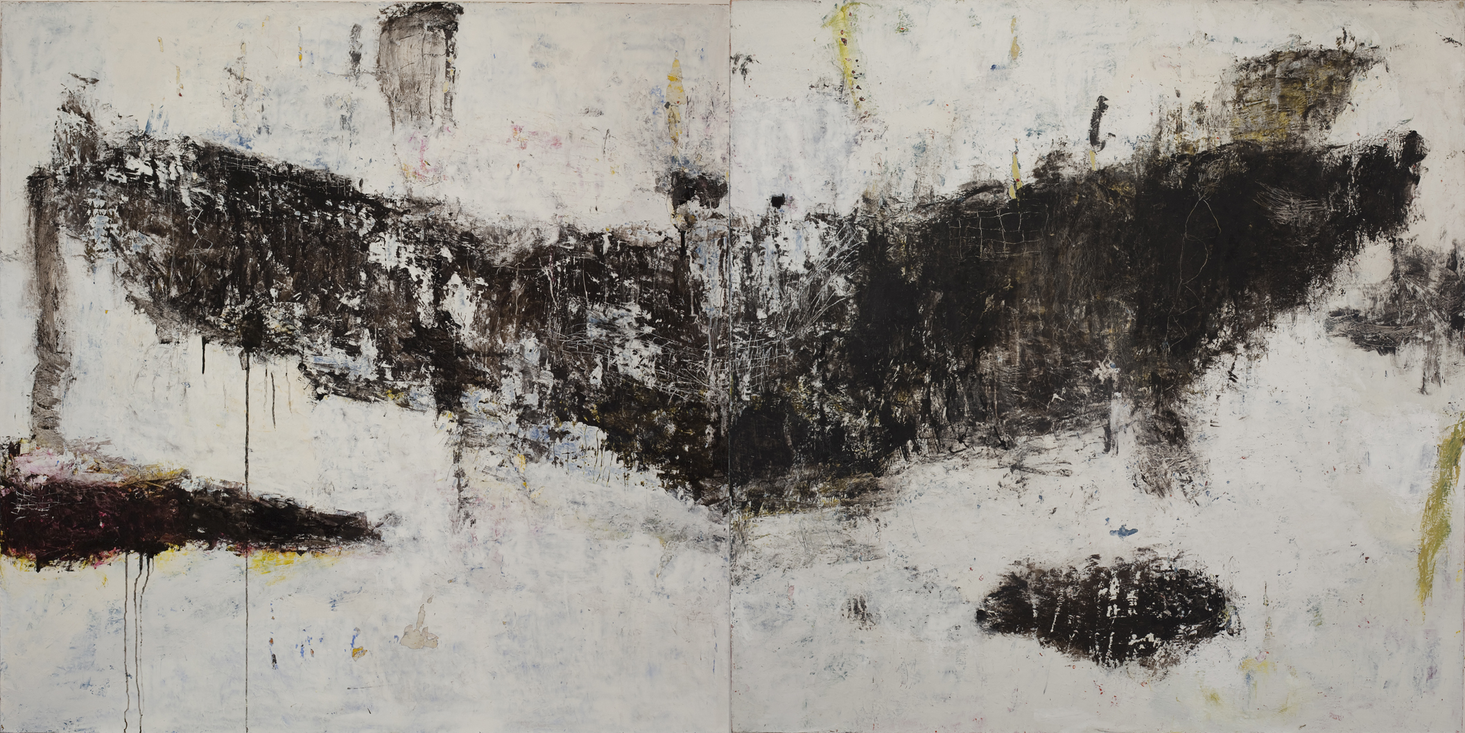 Whale 3 oil on canvas 72x144 in diptych 2016