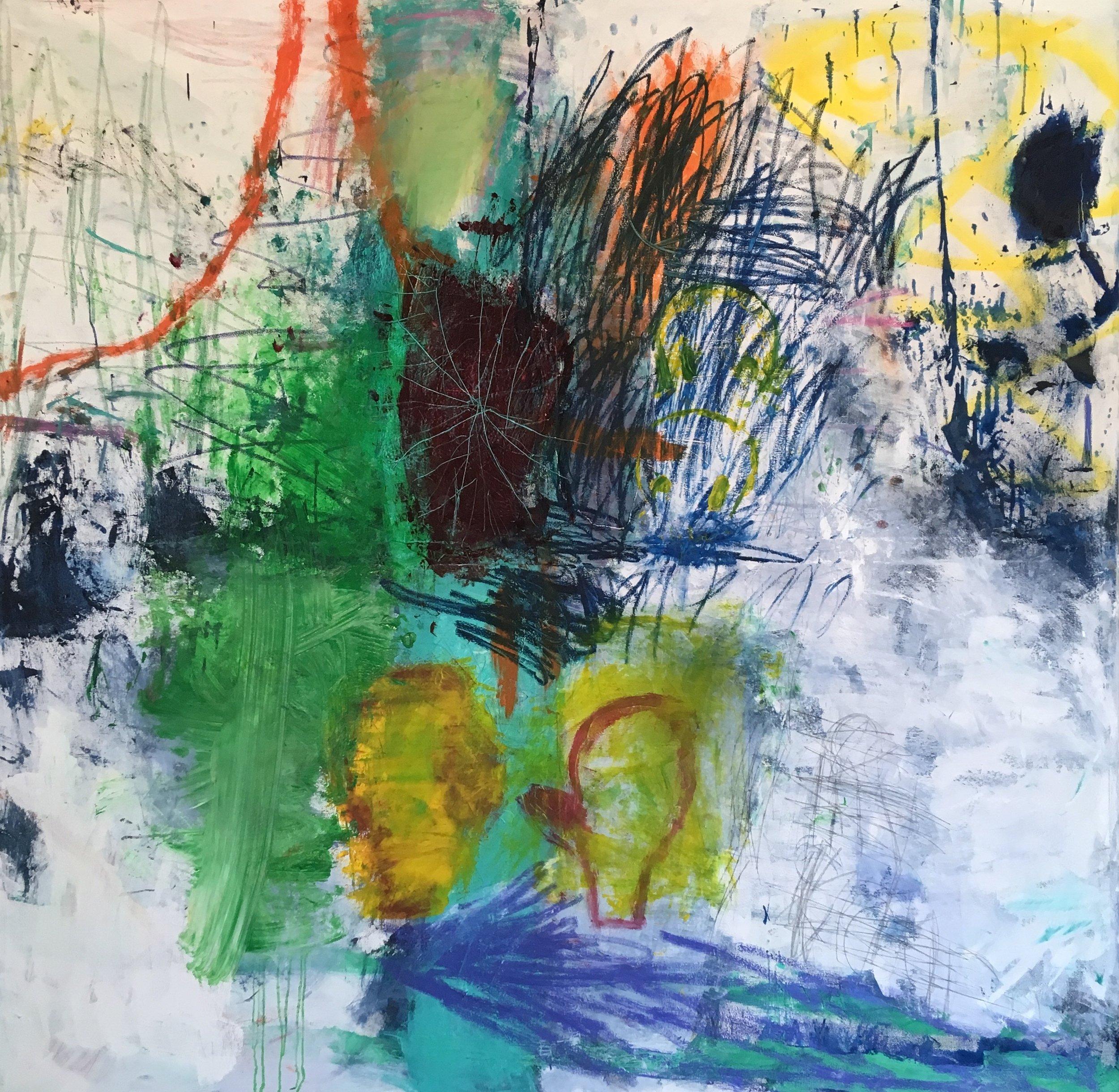 conversation 84x84 in oil, spray on canvas 2019