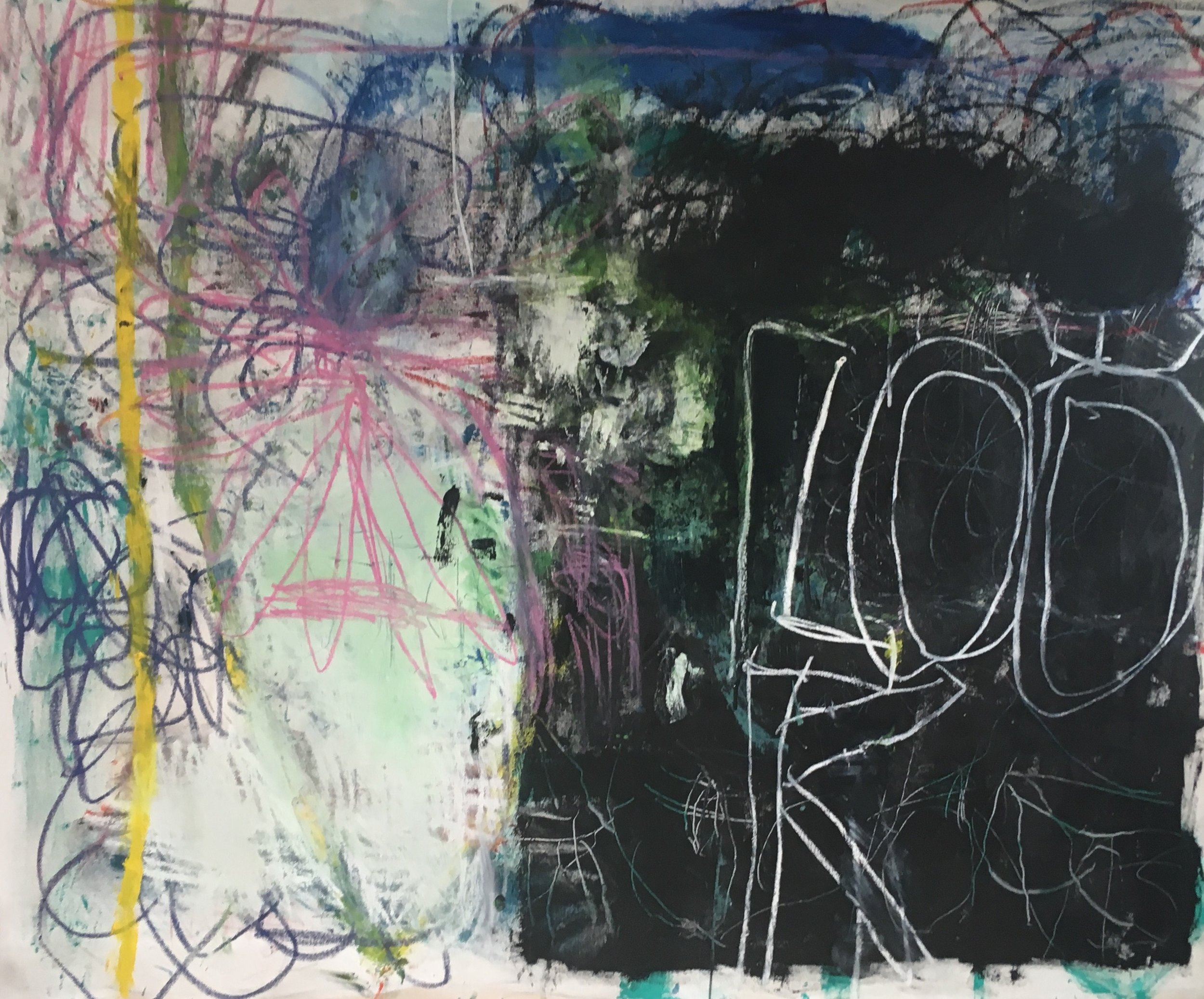 Look and Listen oil , oil stick on canvas 2019