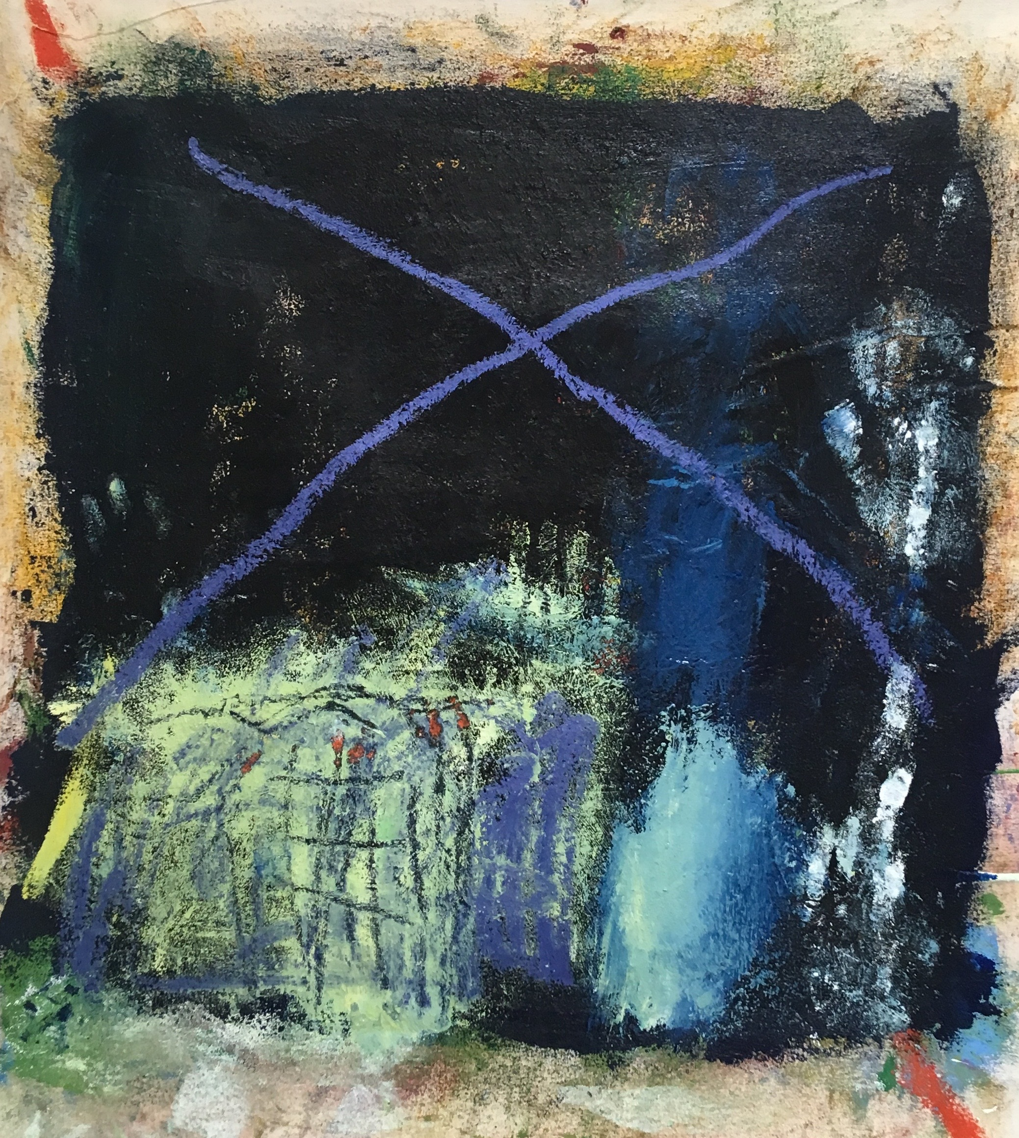 Obscure 35x35 in oil, oil stick on canvas 2019