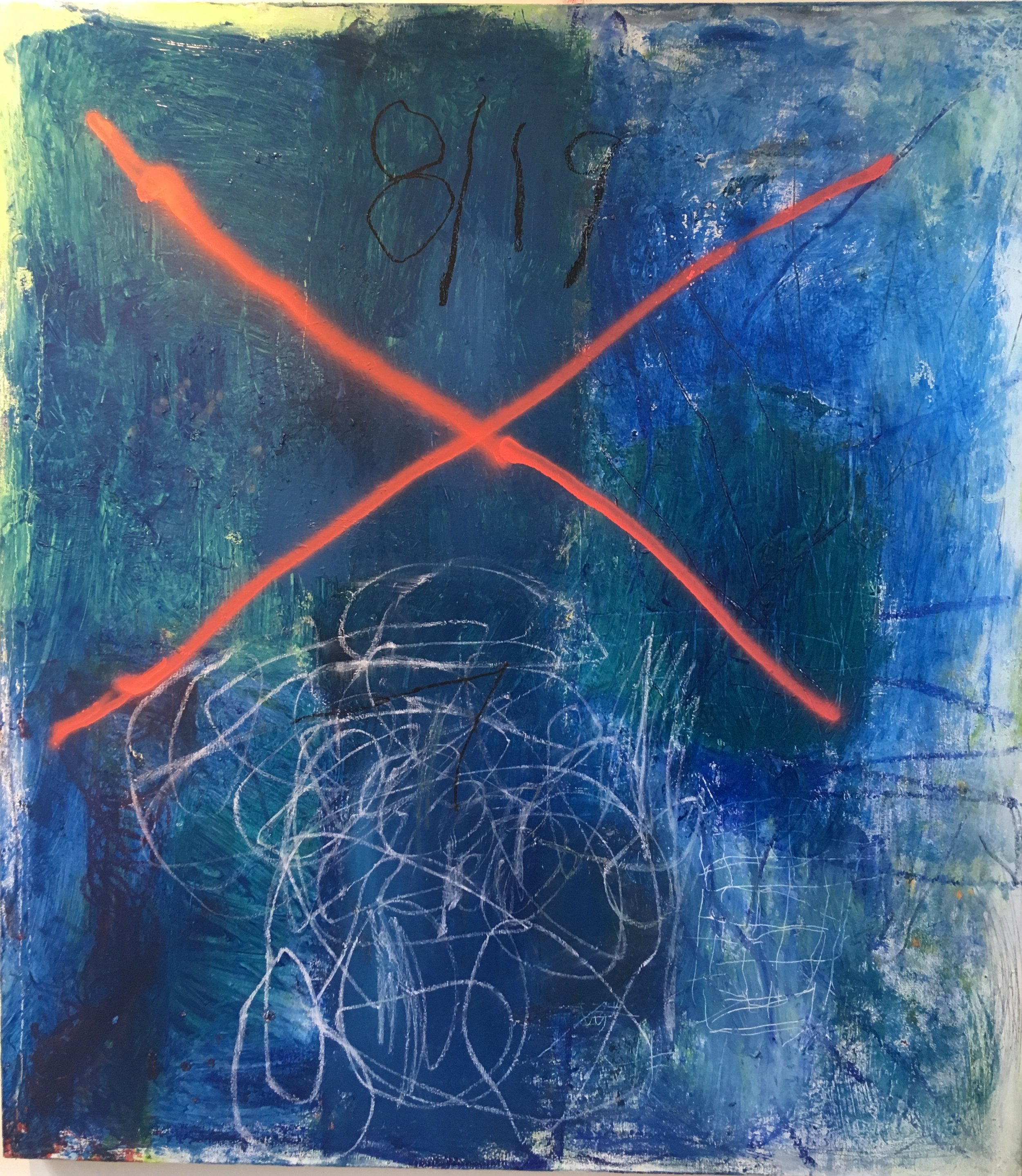 El Paso 52x48 in oil, spray , chalk on canvas 2019