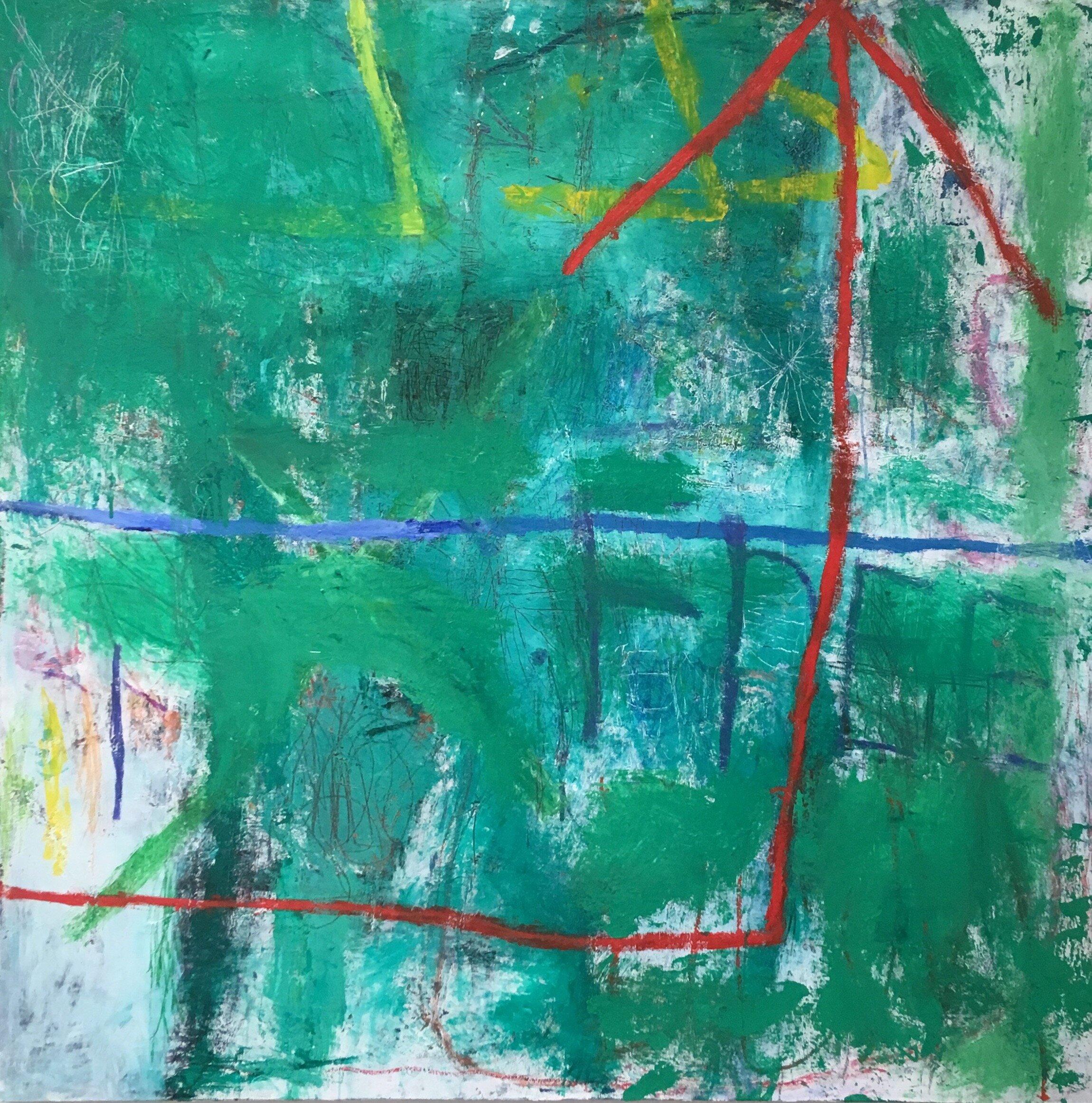 forward 72x72 in oil on canvas 2019