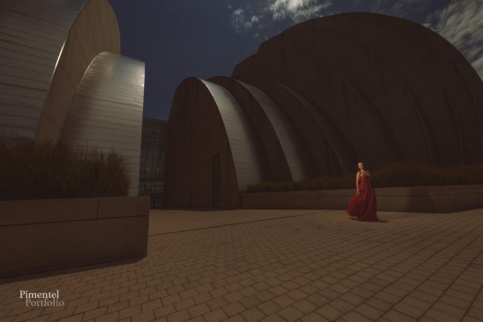 Kansas City landmark the Kauffman provides a backdrop for Amy Stegman's Session