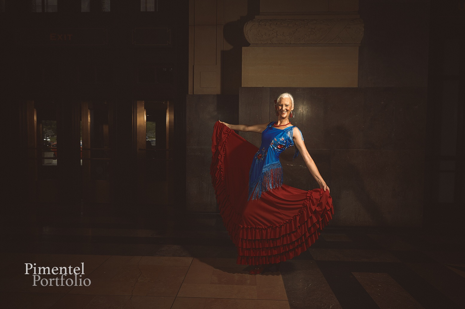 Cheryl McMorris displays her Flamenco dance dress.
