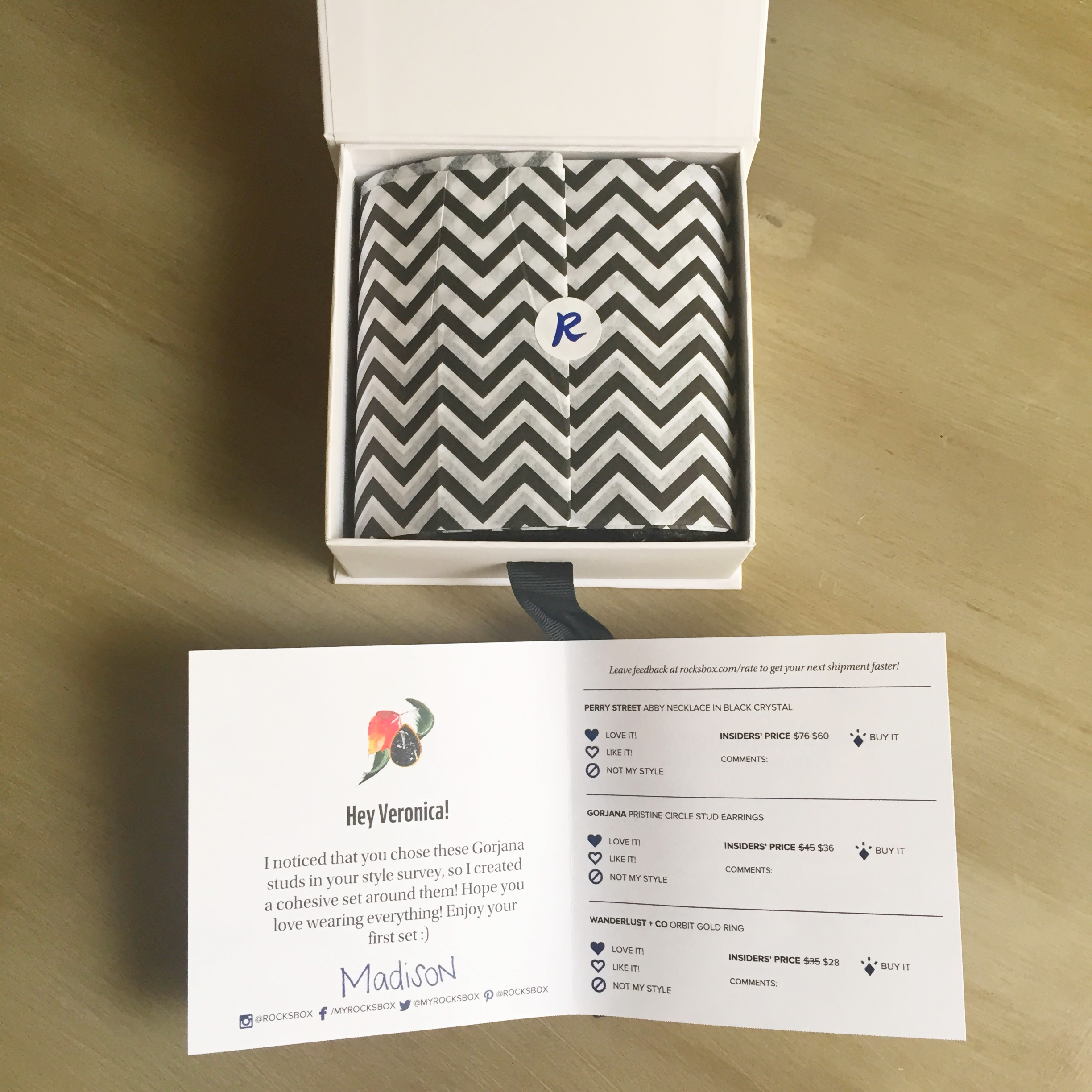 Loving the chevron print tissue! A sneak peak into my curated selection that Madison picked for me form my style quiz.