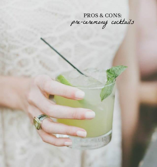 Pros & Cons of Pre-Ceremony Cocktails | Four Threads http://thefourthreads.com