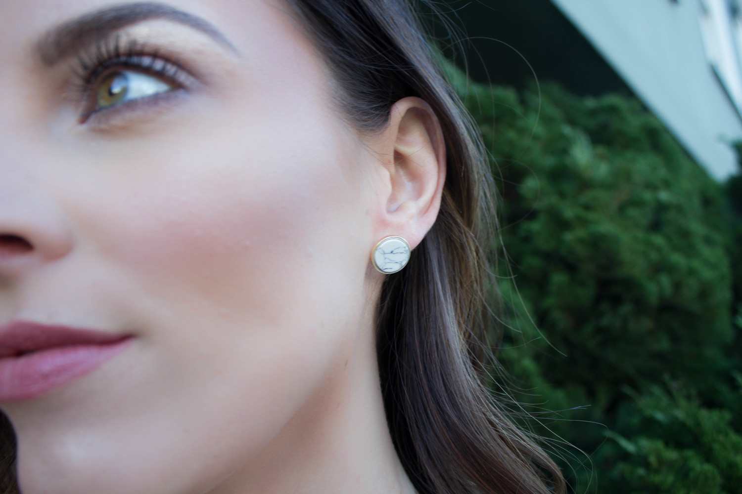 The perfect simple white marble stud earrings