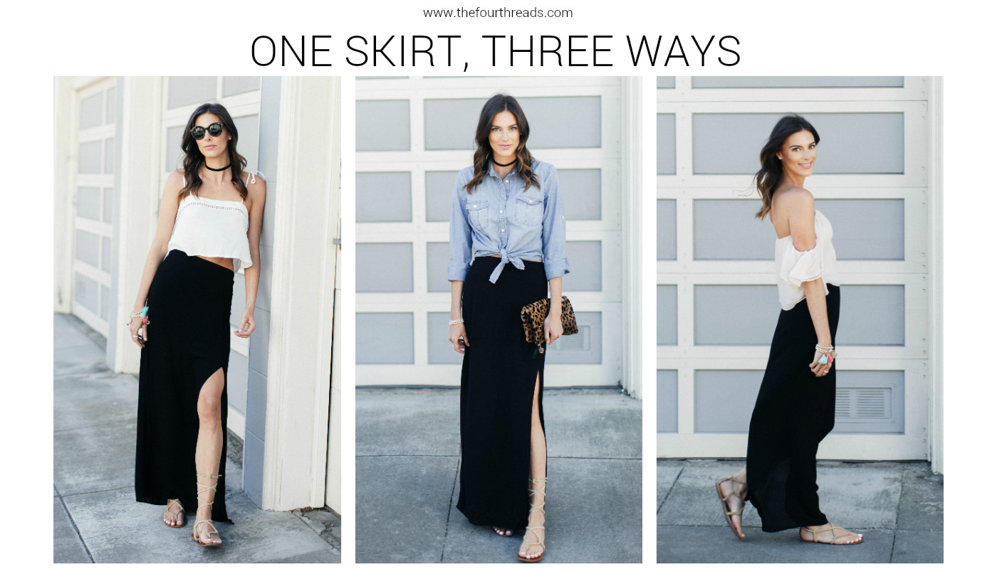 1 maki skirt, styled 2 different ways. This is perfect to help overpacking for a vacation or trip. You can get 3 totally different looks with the same skirt.