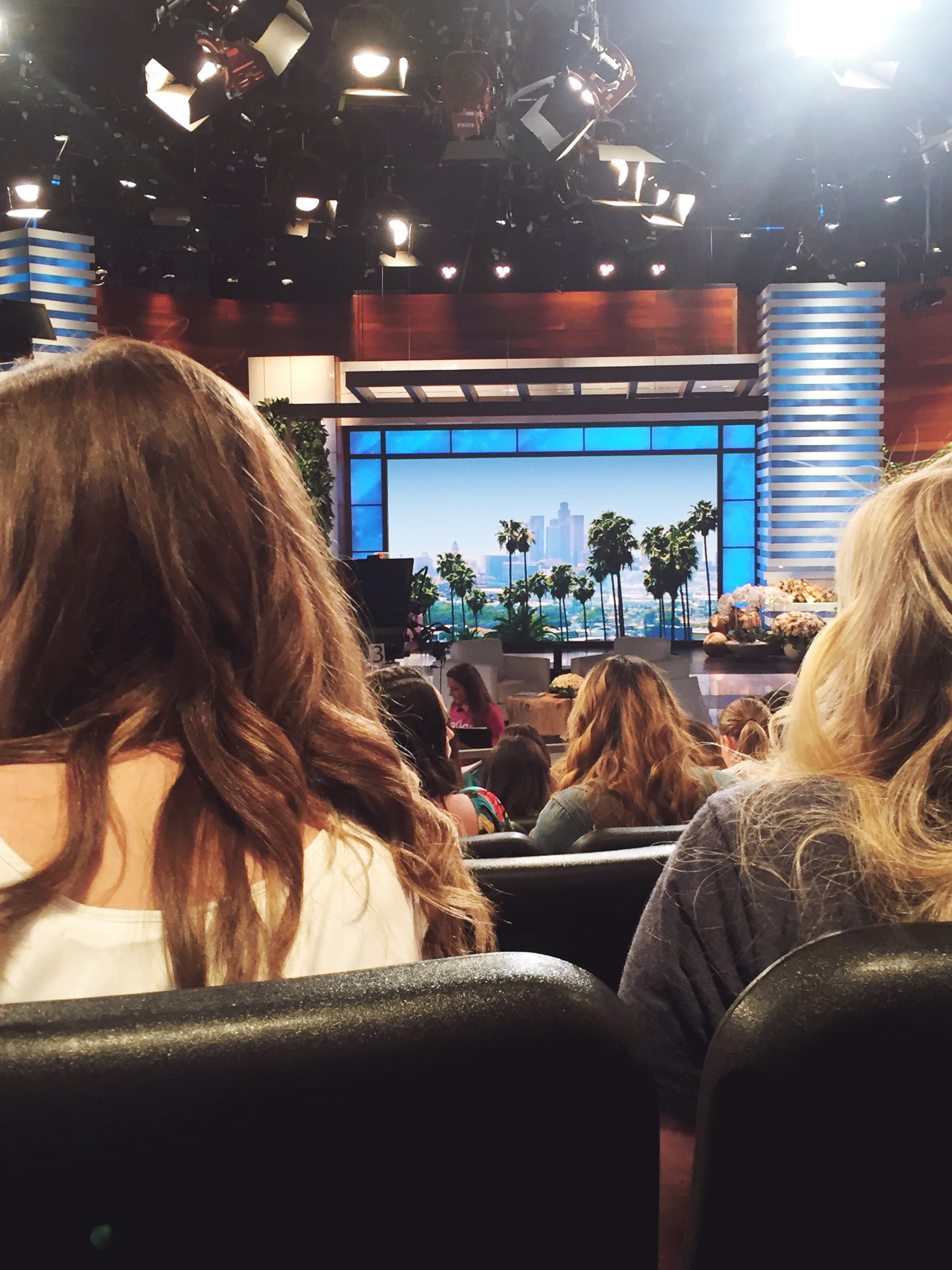 From where I'm sitting. You can see where Ellen sits :)