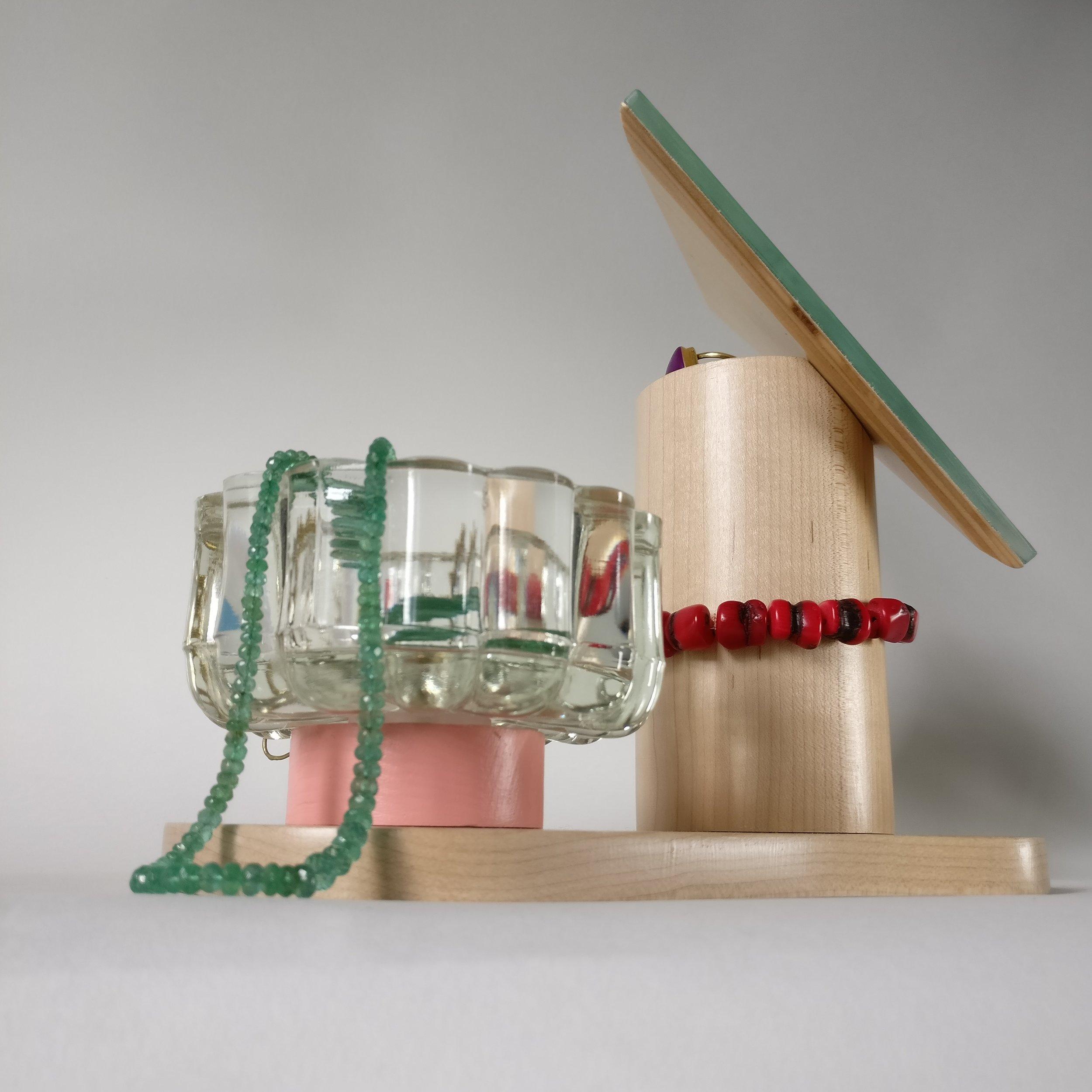 Jewelrt box, totem, wood, design, projet eight eight, projet huit huit, Myriam Rigaud, designer, memphis, geometric, Pink 90's