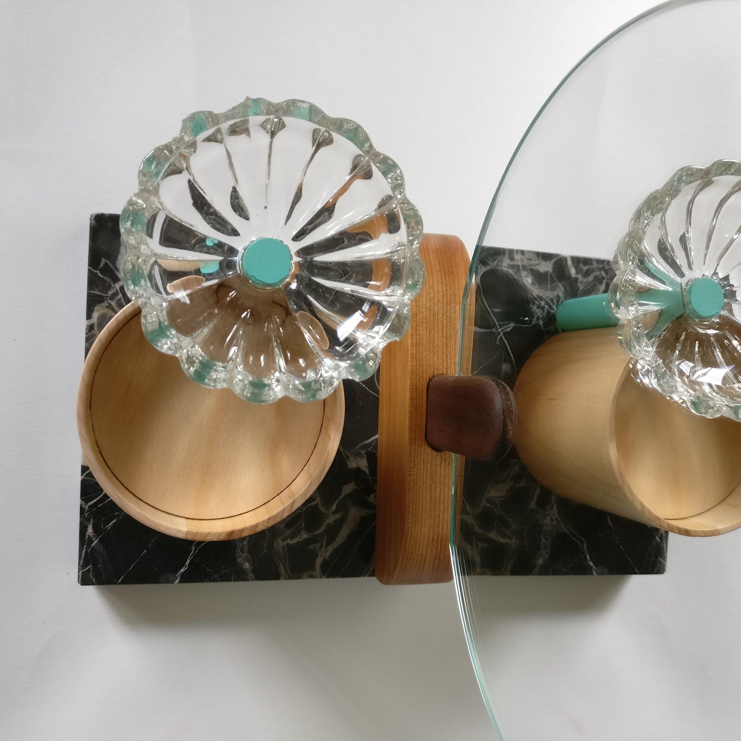 Jewelrt box, totem, wood, design, projet eight eight, projet huit huit, Myriam Rigaud, designer, memphis, geometric, Vanity green