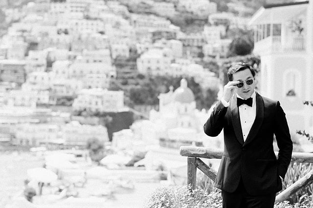 Right out of a Fellini film... #groomstyle #postcardsfromitaly #groomstyle #tuxedo #romanticportraiture #romaticweddingphotography #romancelives #blackandwhitephotography #italywedding
