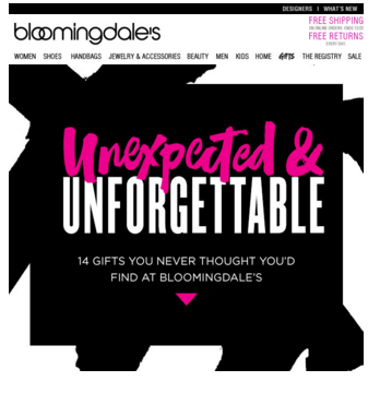 Bloomingdale's Ecommerce Holiday Email