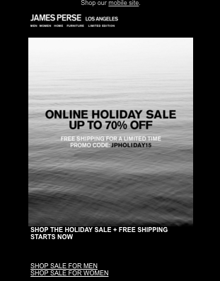 James Perse Ecommerce Holiday Email