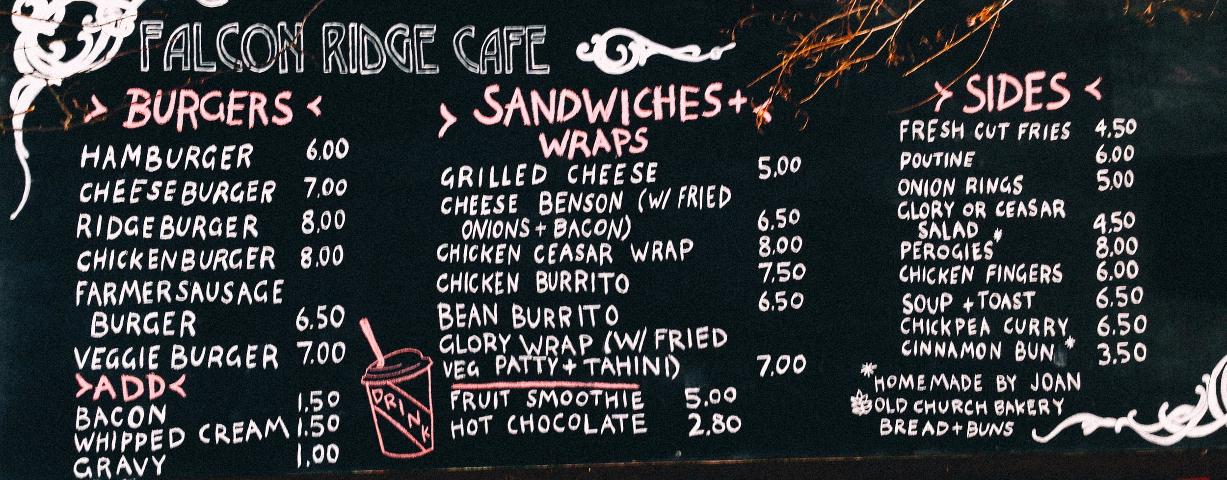 Features housemade fries and burgers, curries, wraps, all things good.