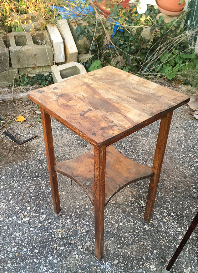 Before, heavily worn and stained