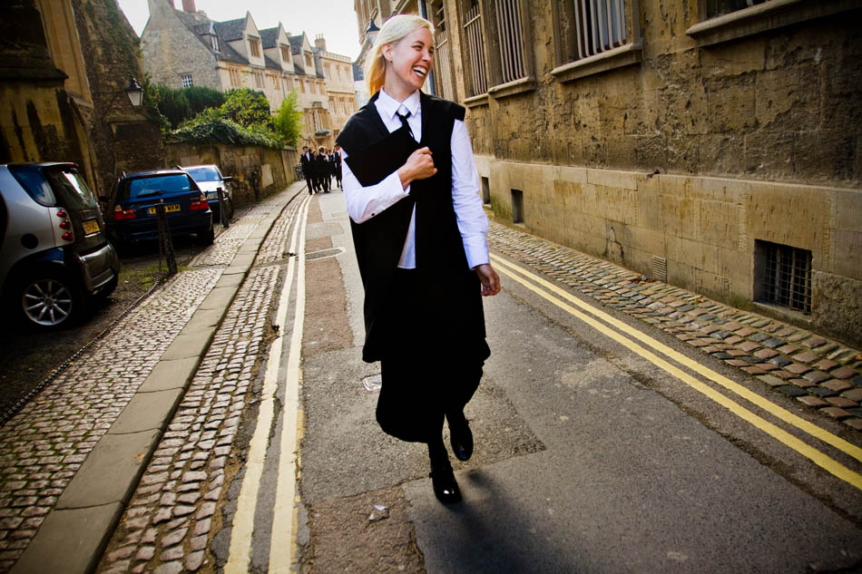 Oxford, England - Angela after the Wadham College matriculation ceremony